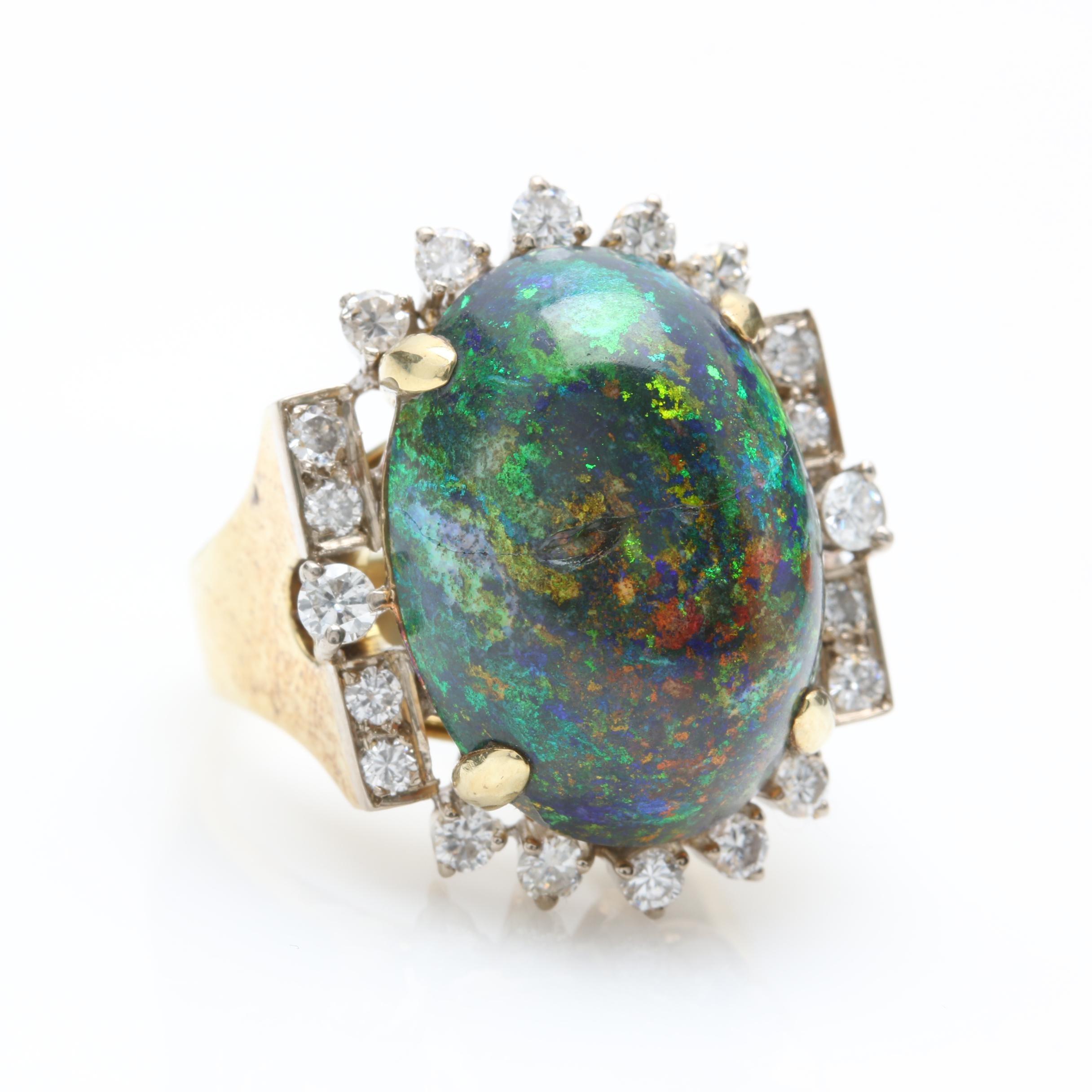 14K Yellow Gold 9.59 CT Opal and Diamond Statement Ring