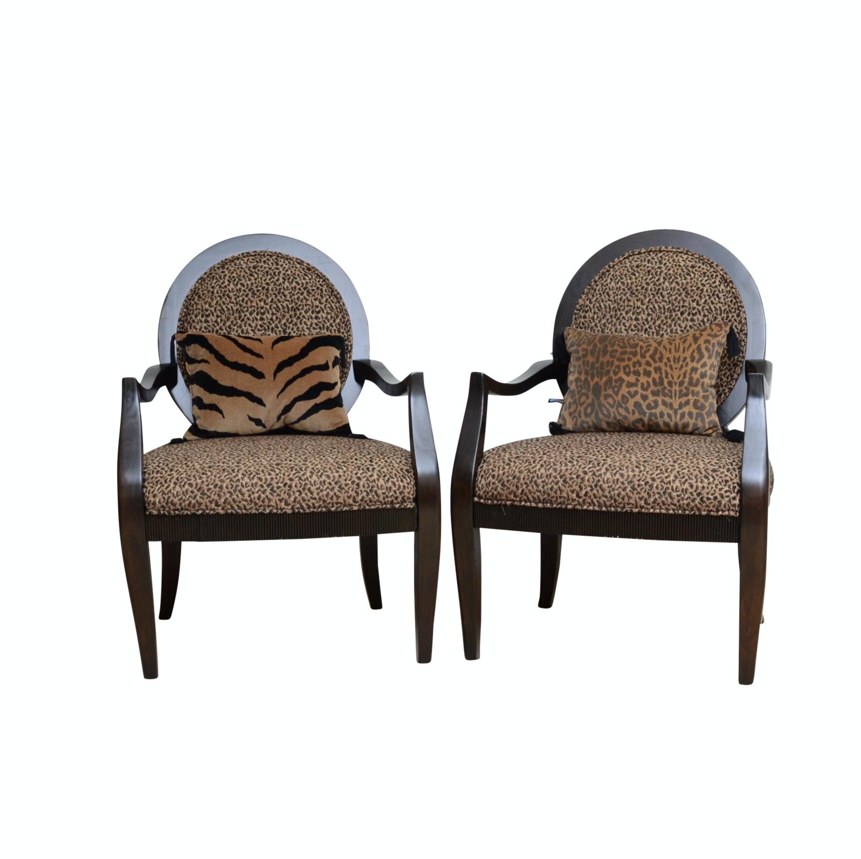 Pair of Cheetah Print Occasional Chairs