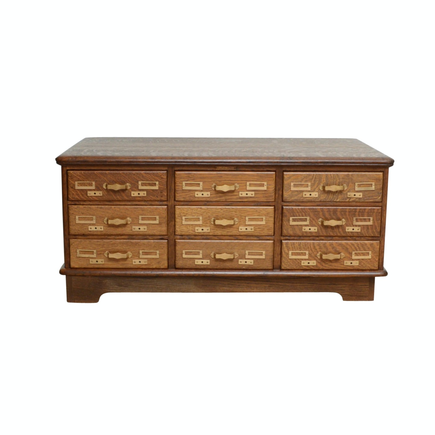 Antique Oak Card Cataloger Turned Coffee Table