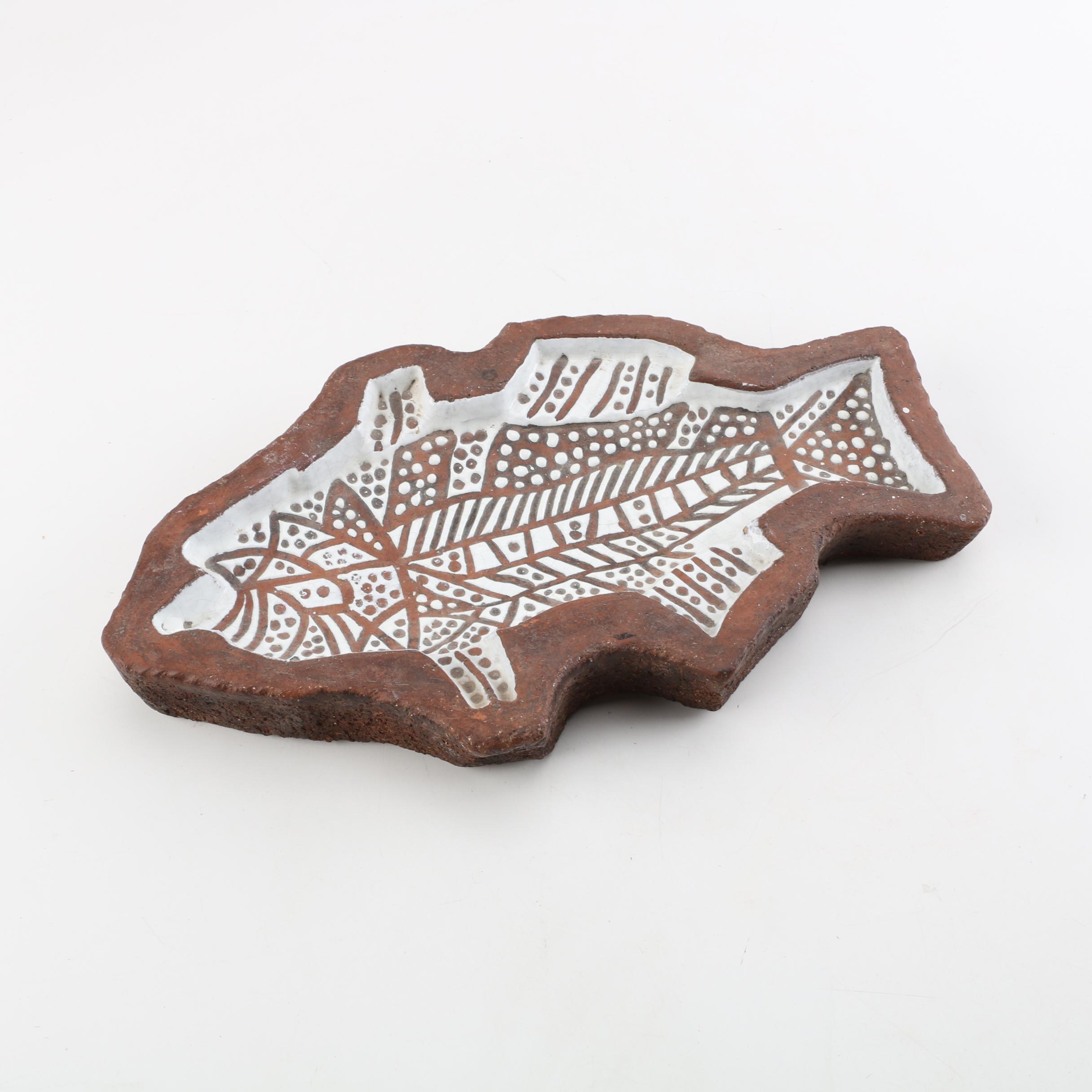 Italian Terracotta Sgraffito Fish Shaped Platter