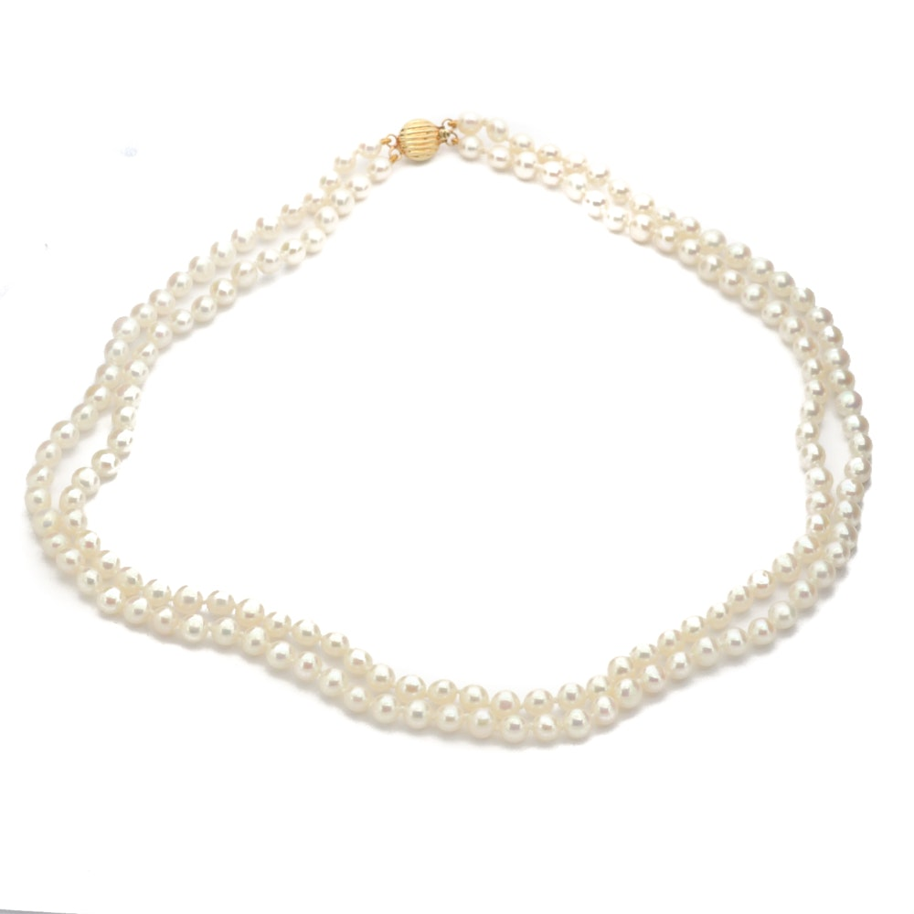 Double Strand Cultured Freshwater Pearl Necklace