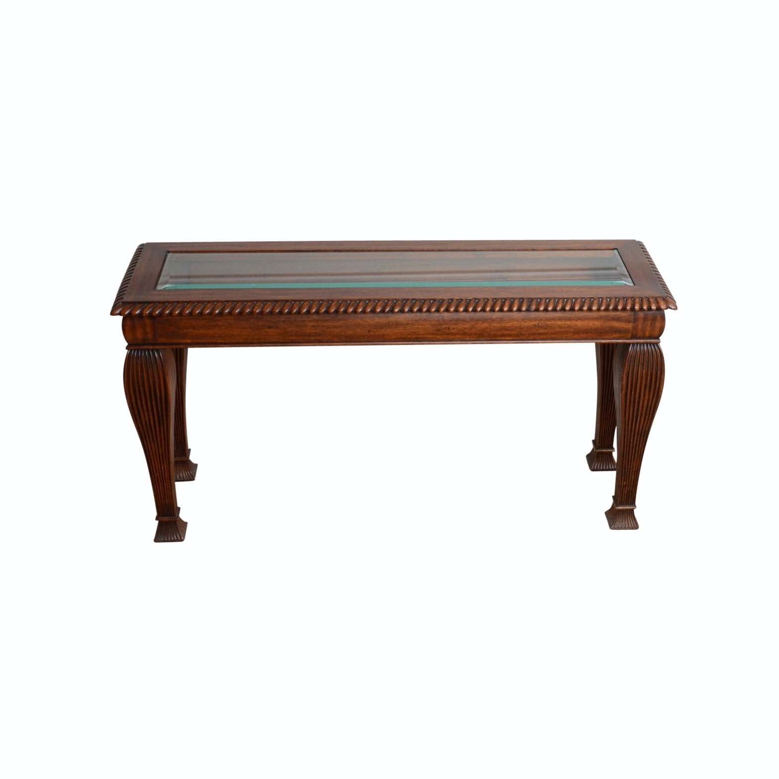 Sofa Table with Beveled Glass Top