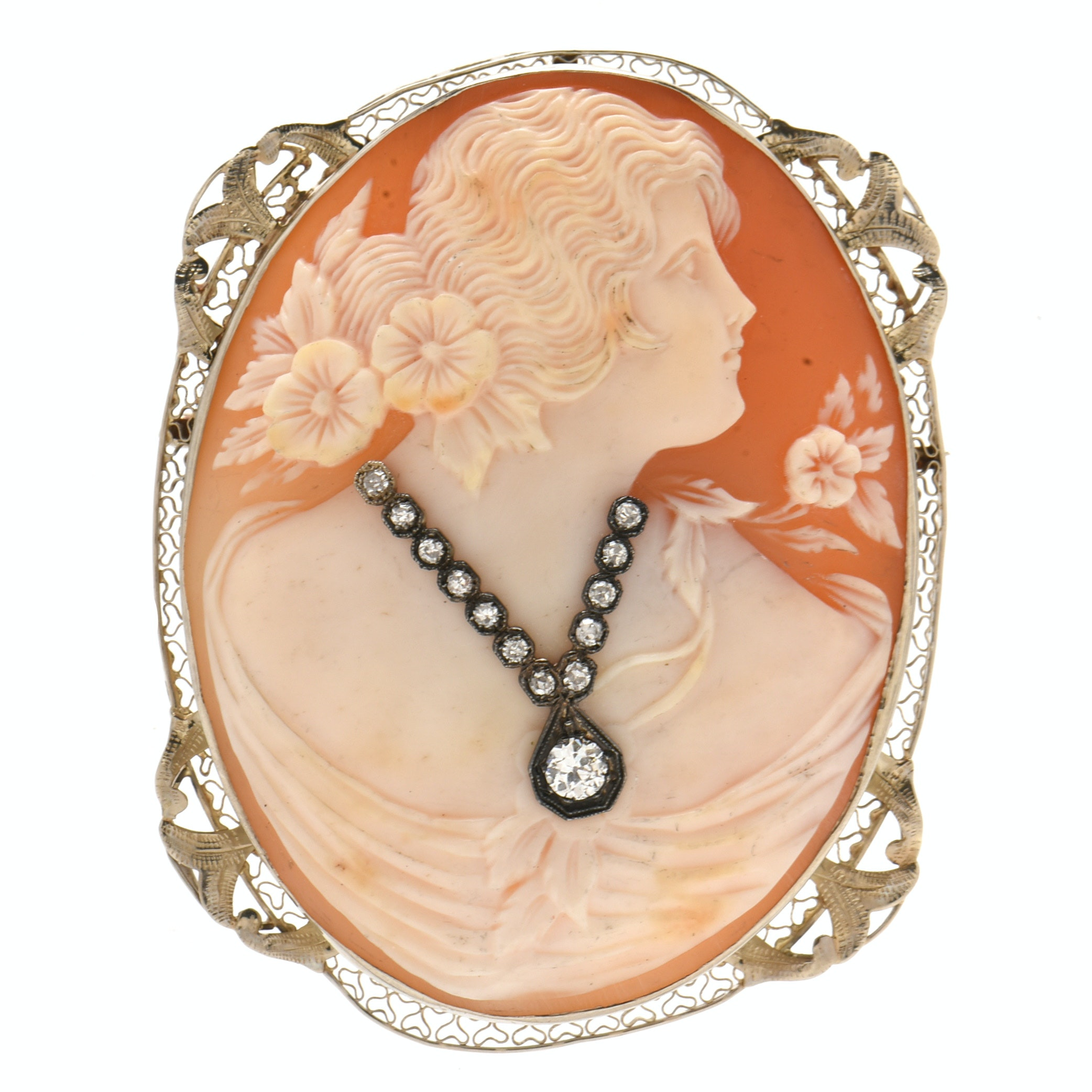 Vintage 14K White Gold Carved Shell Habillé Cameo with Diamonds Converter Brooch