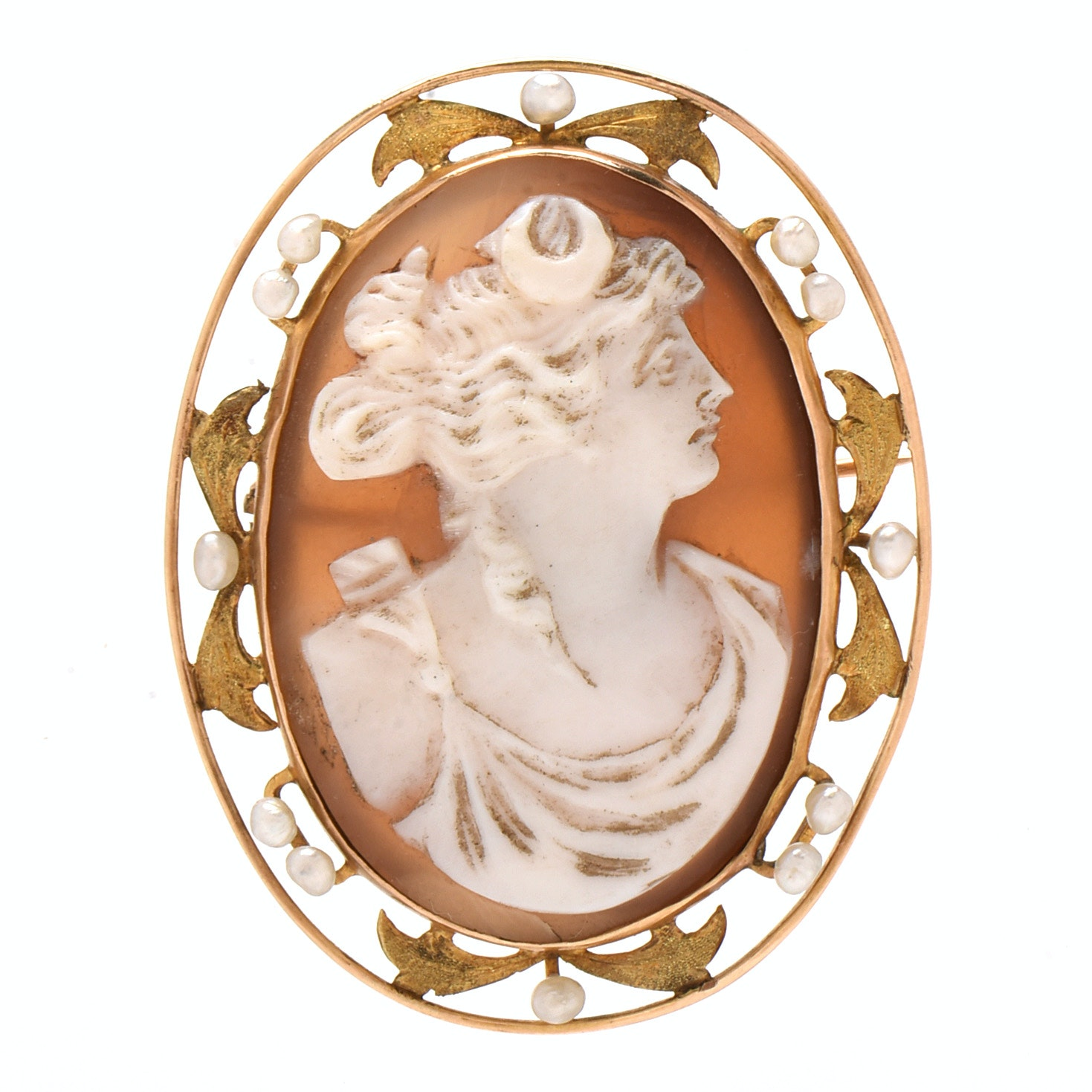 Vintage 10K Yellow Gold Carved Shell Artemis Cameo with Seed Pearls Brooch