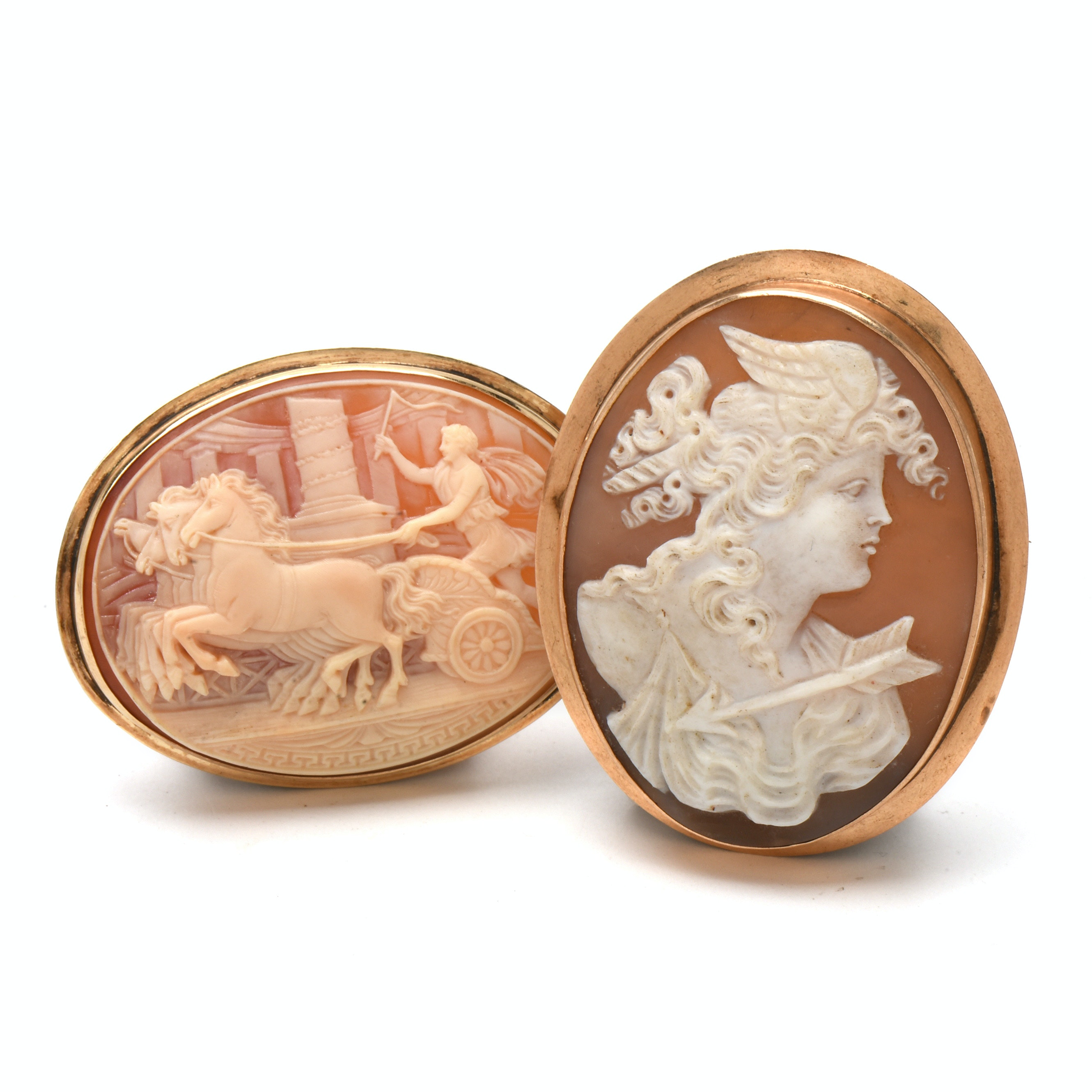 Pairing of Late Victorian Gold-Tone Carved Shell Cameo Brooches