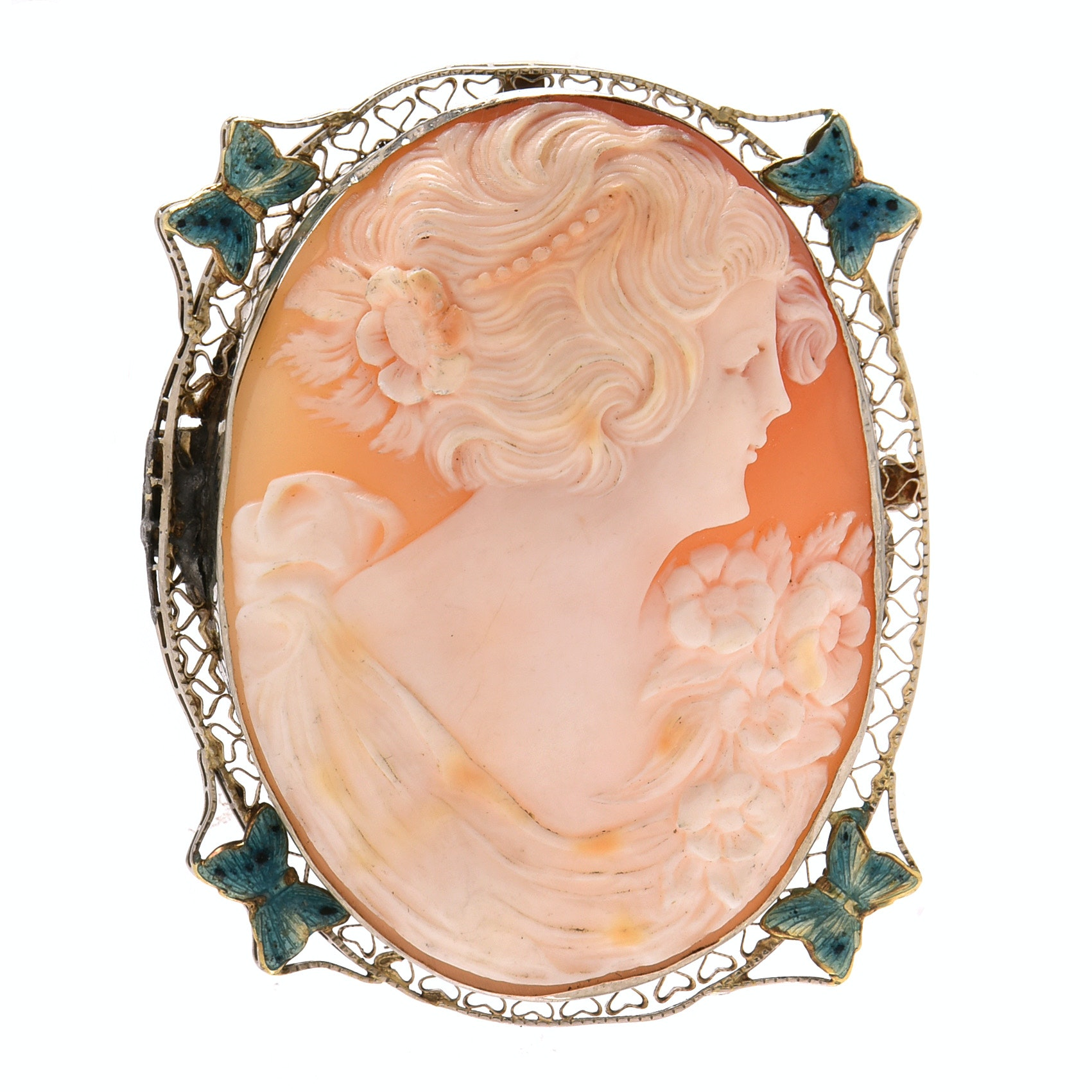 Vintage 14K White Gold Carved Shell Cameo with Enamel Converter Brooch