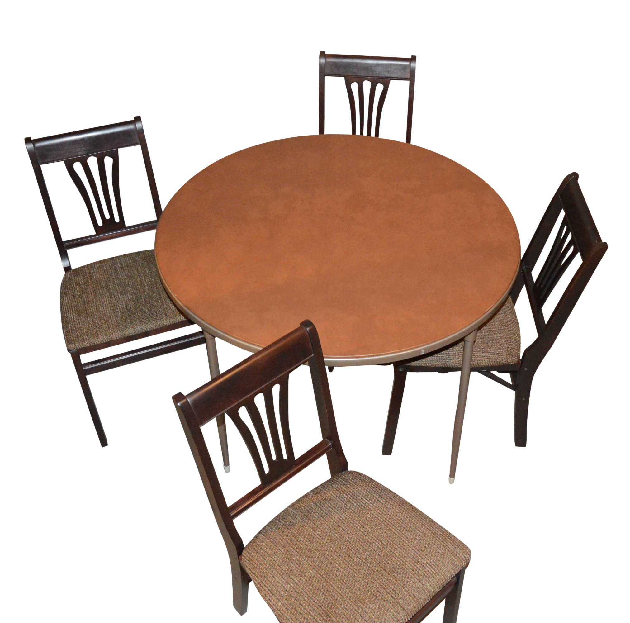 Round Folding Table with Four Folding Chairs