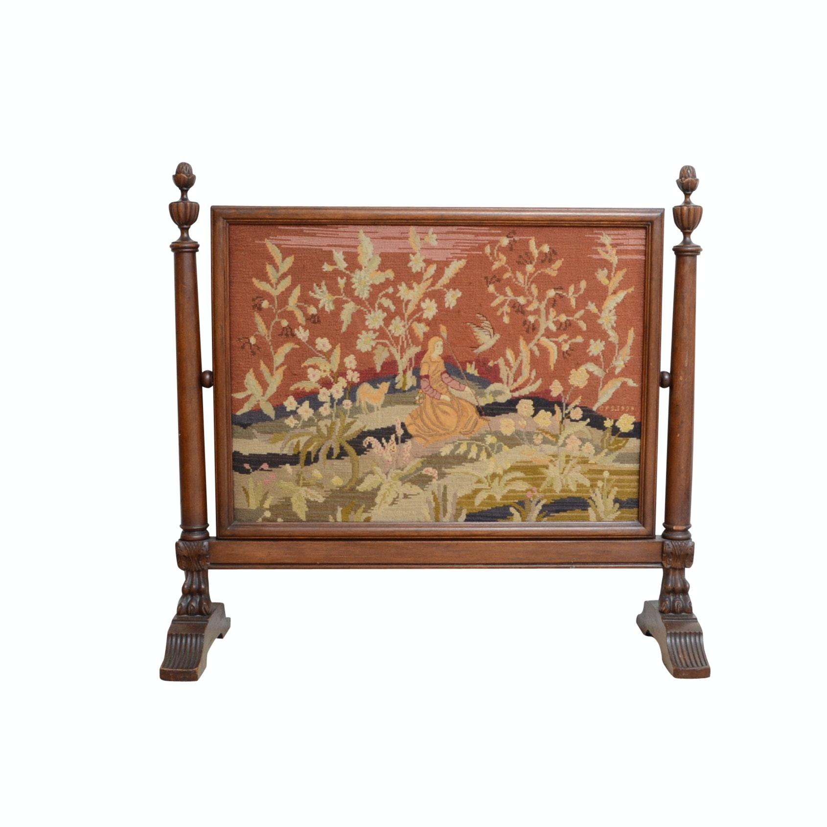 Antique Needlepoint Fireplace Screen