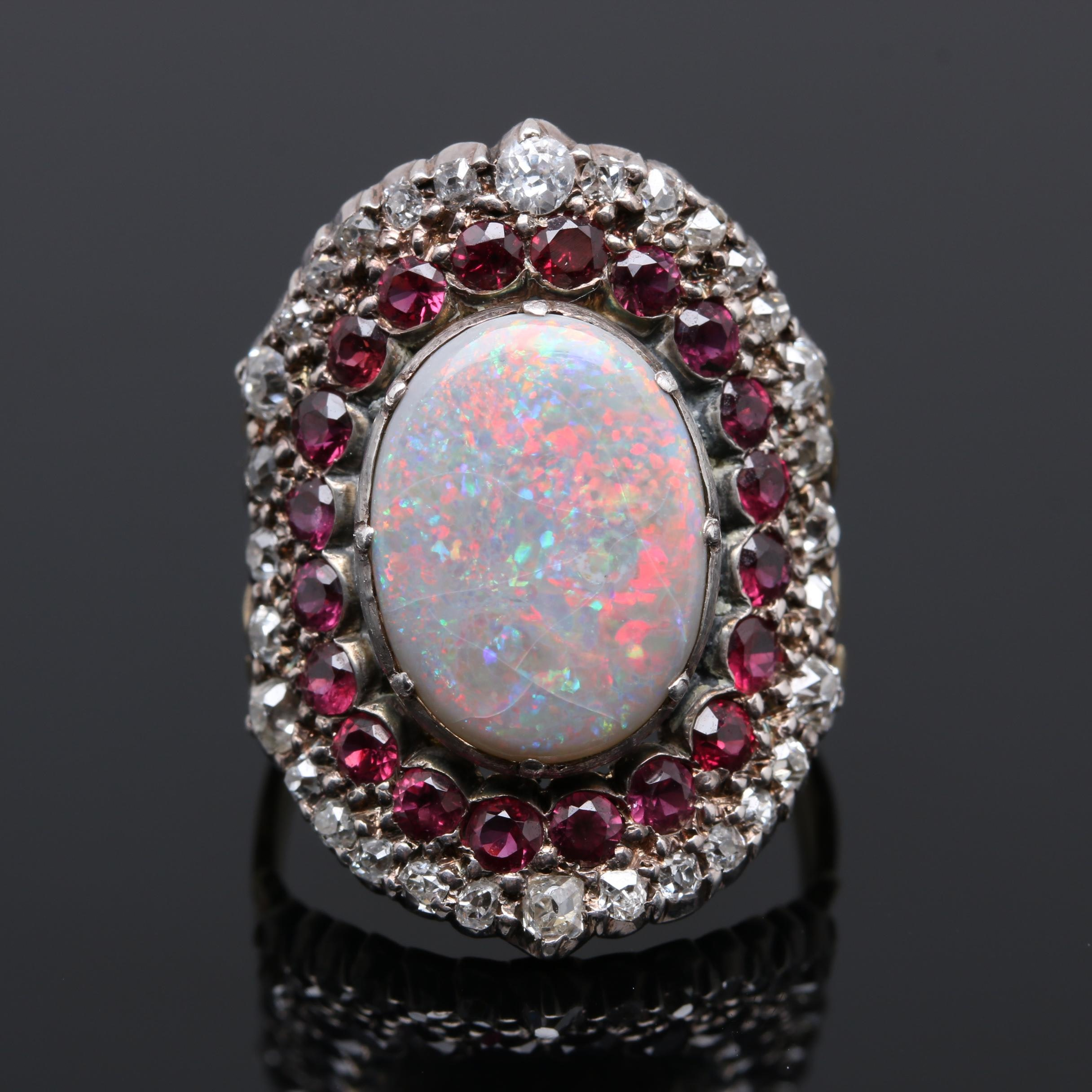 10K Yellow Gold and Sterling Silver Opal, Ruby, and Diamond Ring