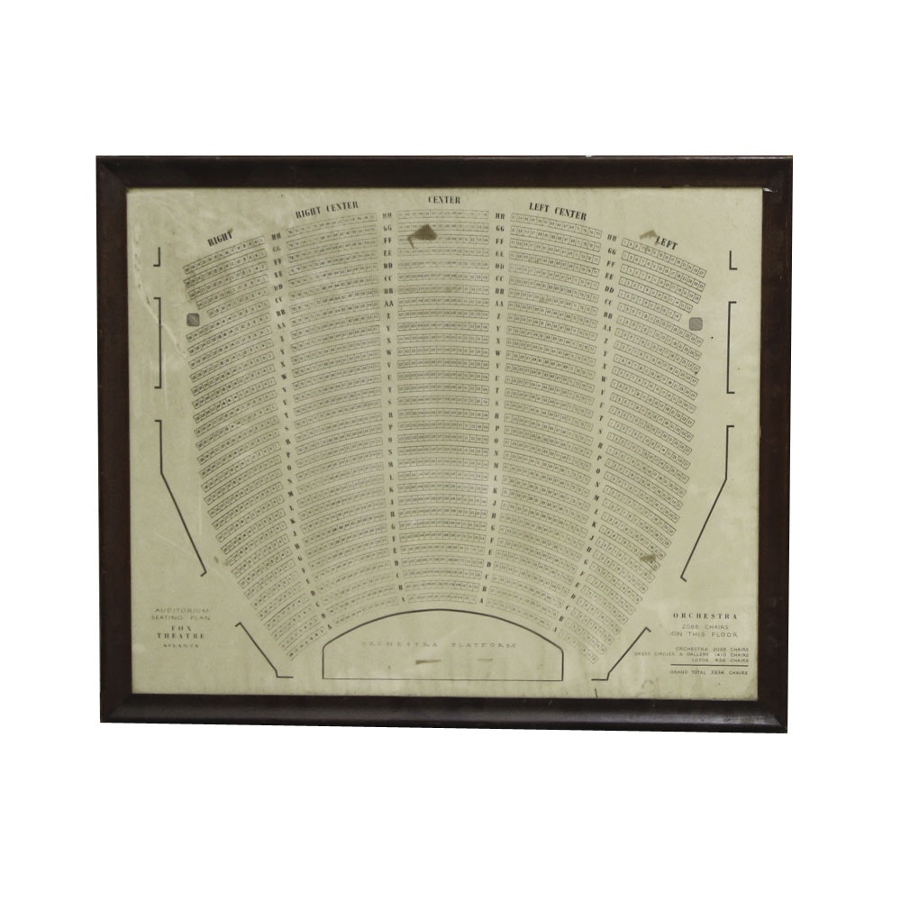 Framed Fox Theater Seating Chart