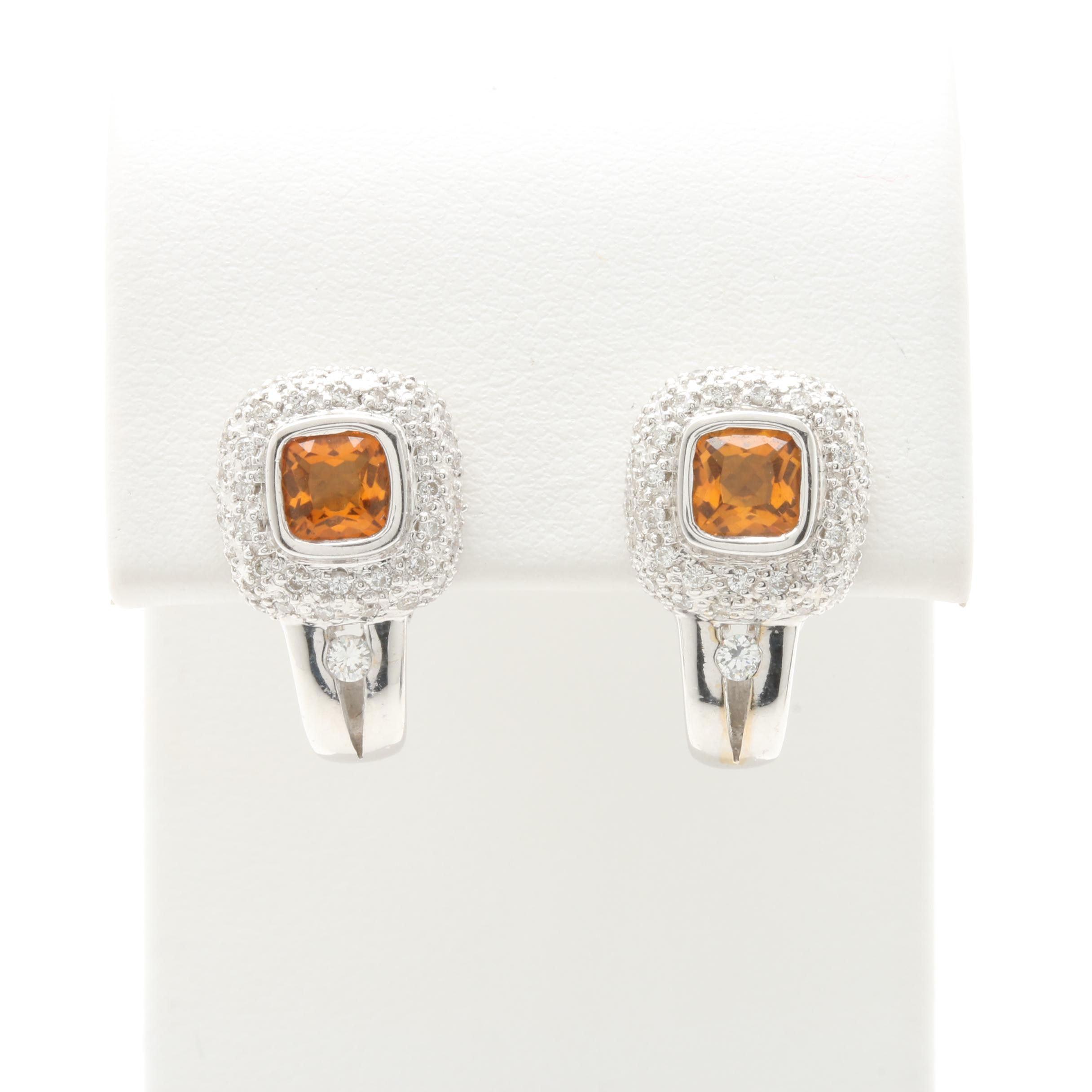 18K White Gold Citrine and Diamond J-Hoop Earrings