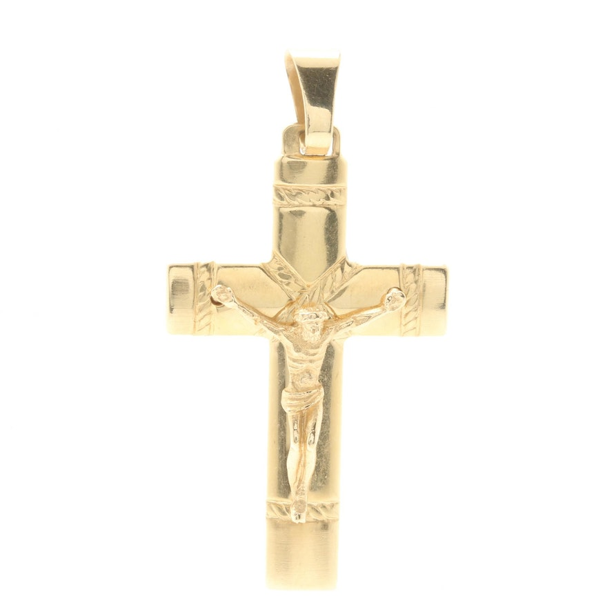 14k Gold Crucifix Necklace: 14K Yellow Gold Crucifix Pendant : EBTH
