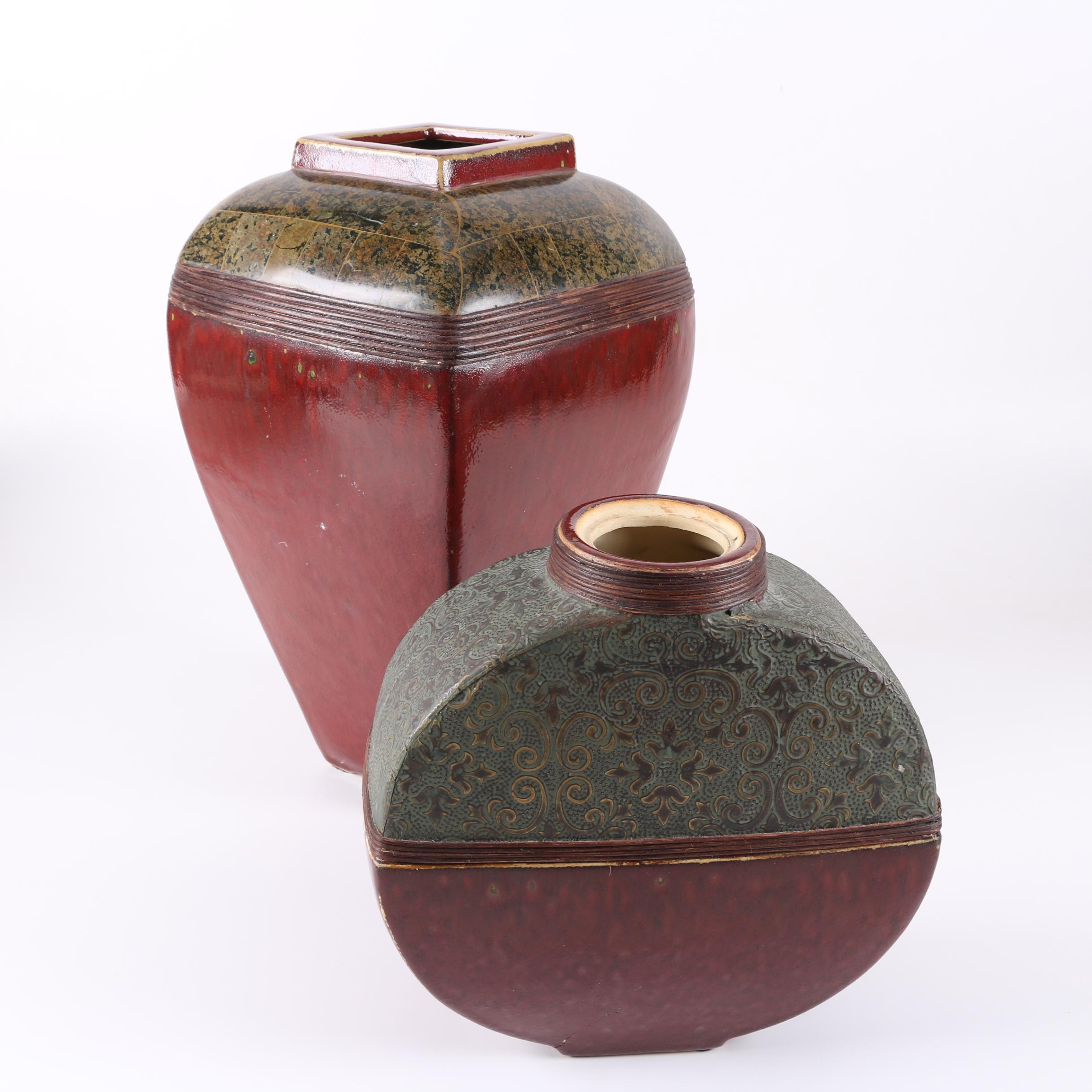 Group of Oxblood Glazed Ceramic Vases