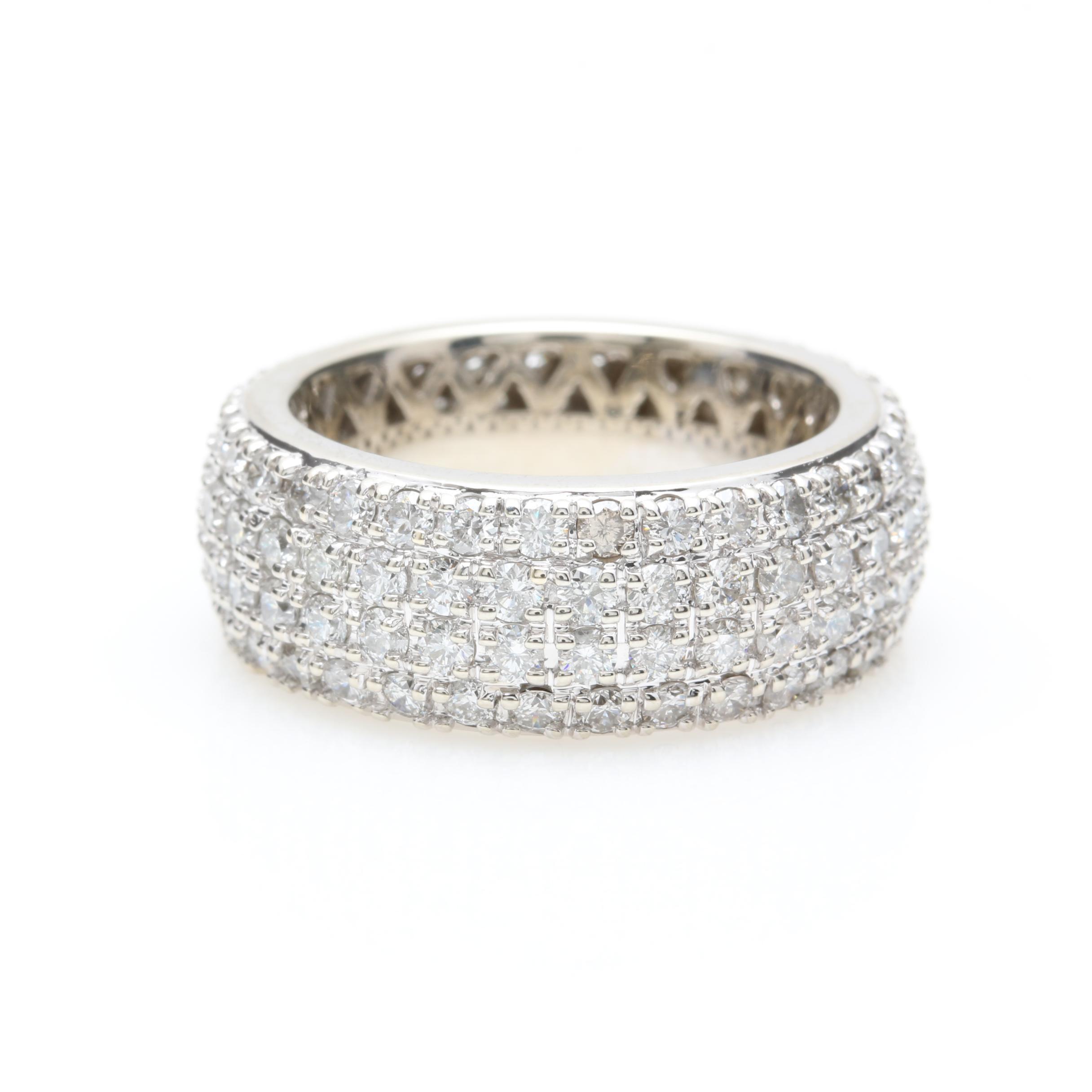 14K White Gold 3.73 CTW Diamond Eternity Band Ring