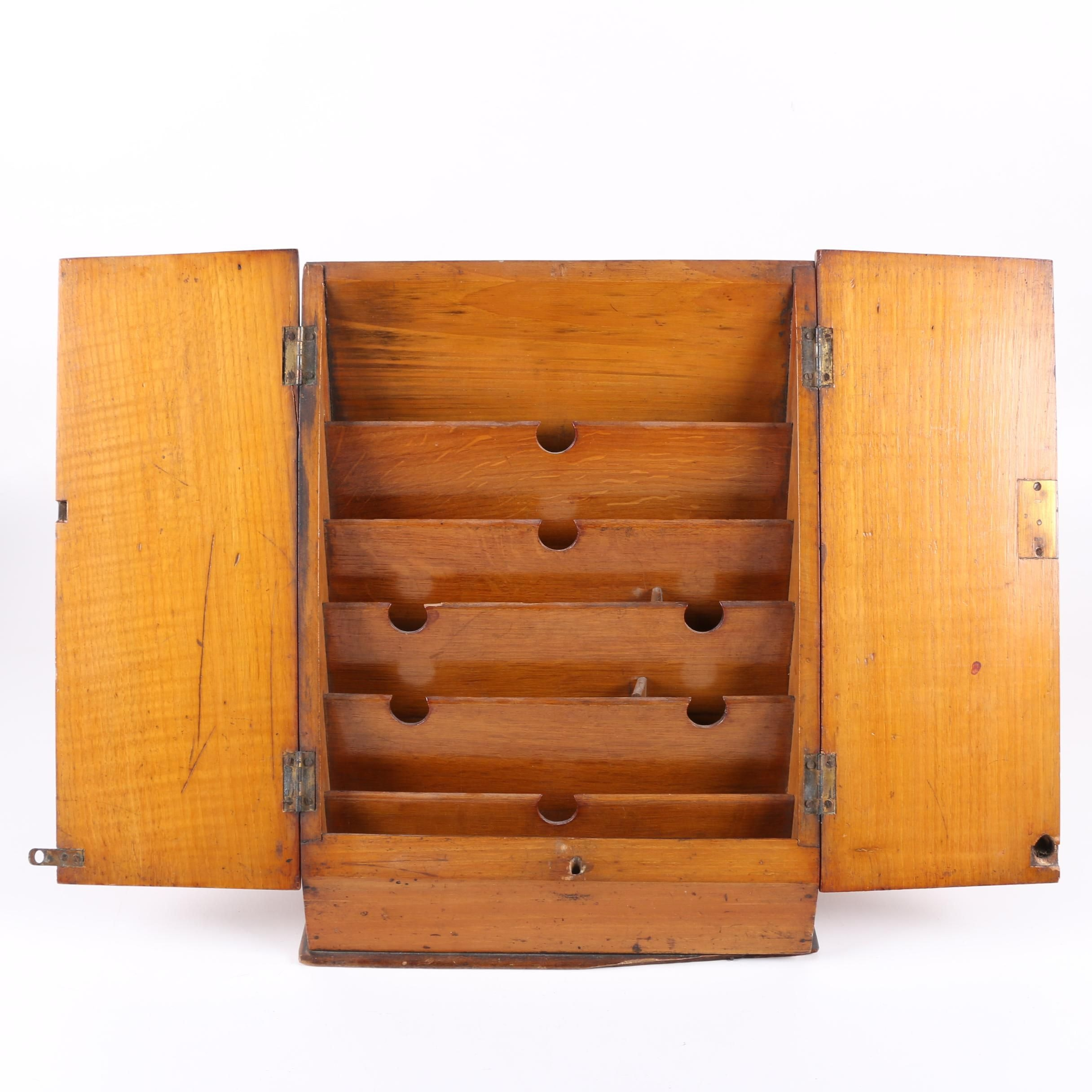 Vintage Wood File Cabinet with Doors