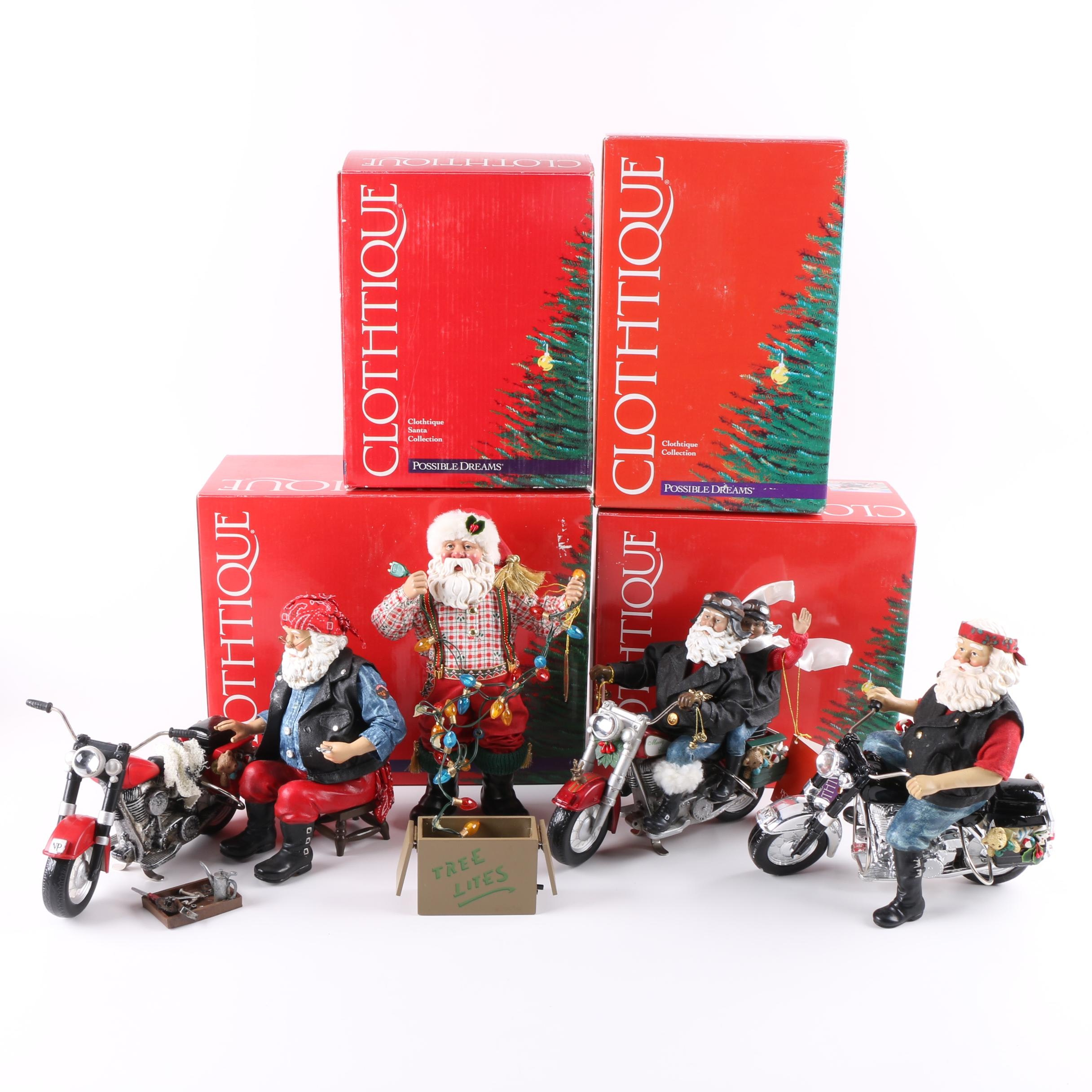 Clothtique by Possible Dreams Santa Claus Figurines Including Holiday Thunder