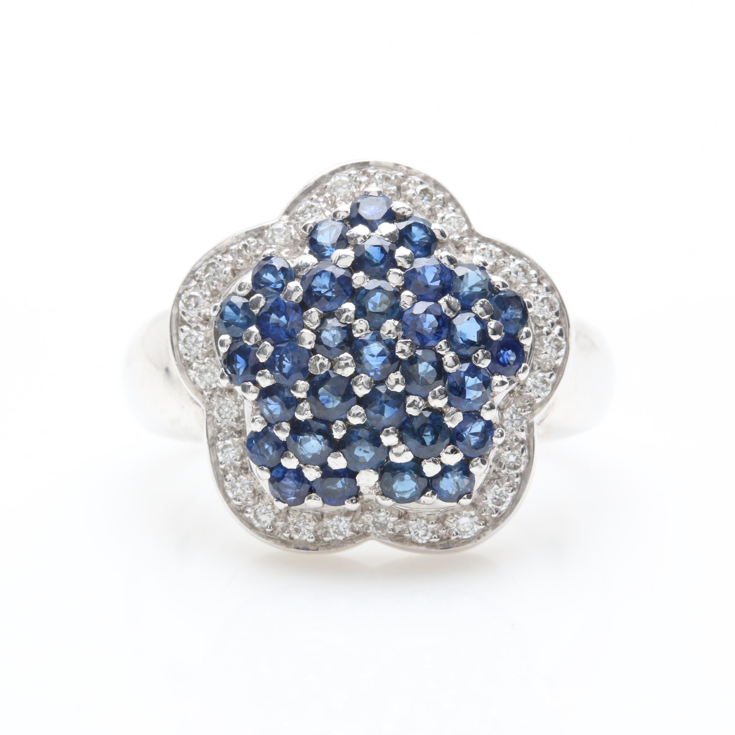 18K White Gold Blue Sapphire and Diamond Floral Ring