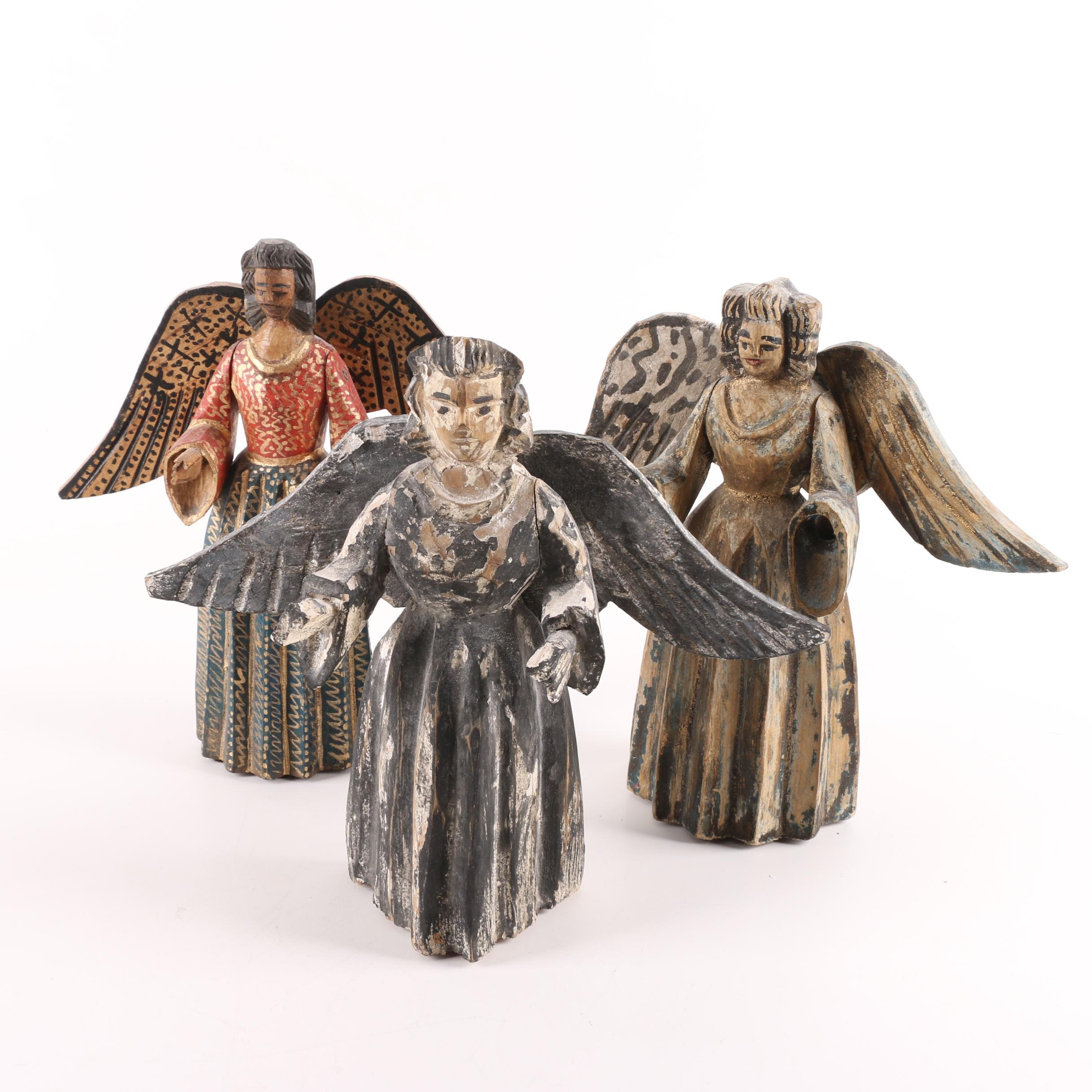 Carved Folk Art-Style Angels