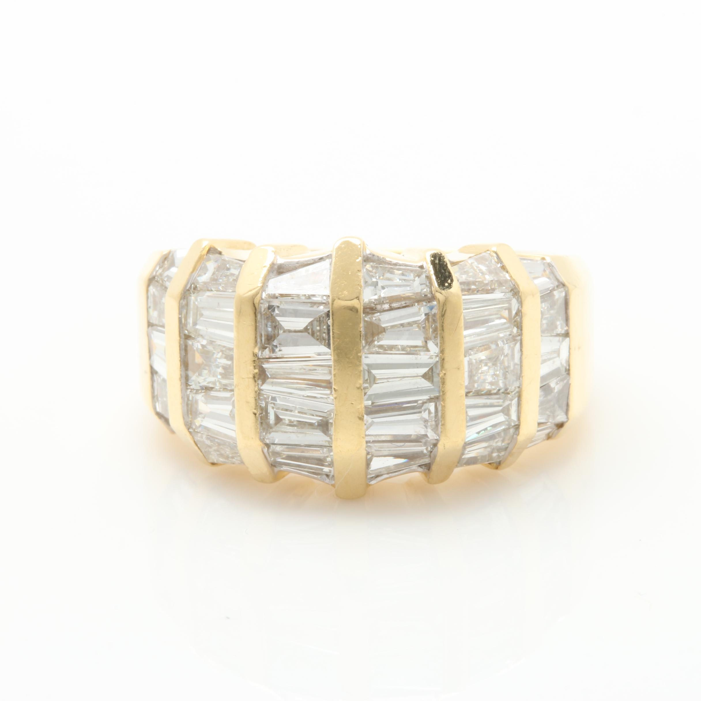 18K Yellow Gold 2.98 CTW Diamond Multi-Channel Band