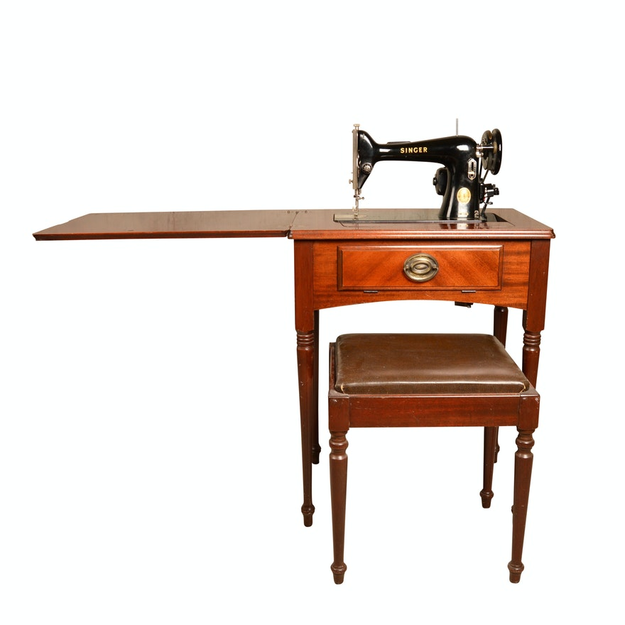 Singer Sewing Machine With Cabinet And Bench Circa 40 EBTH Adorable 1955 Singer Sewing Machine