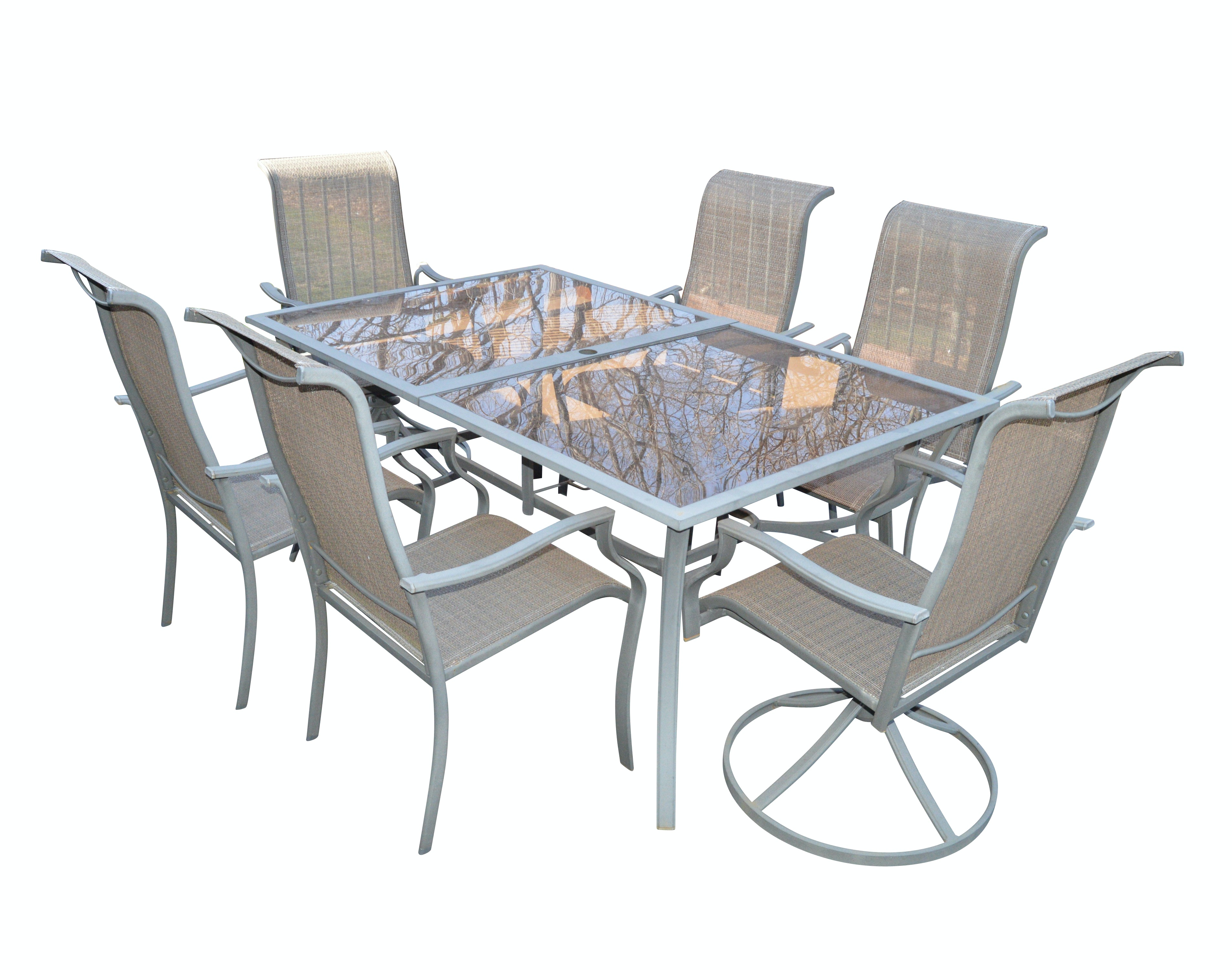glass top patio table and chairs rh ebth com Glass Table Top Patio Sets Patio Table and 6 Chairs