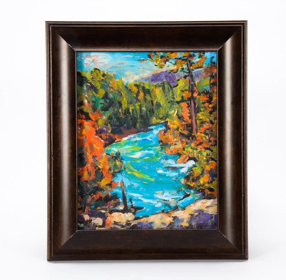 R.M. Mortensen Oil on Canvas Board Impressionist Landscape Painting