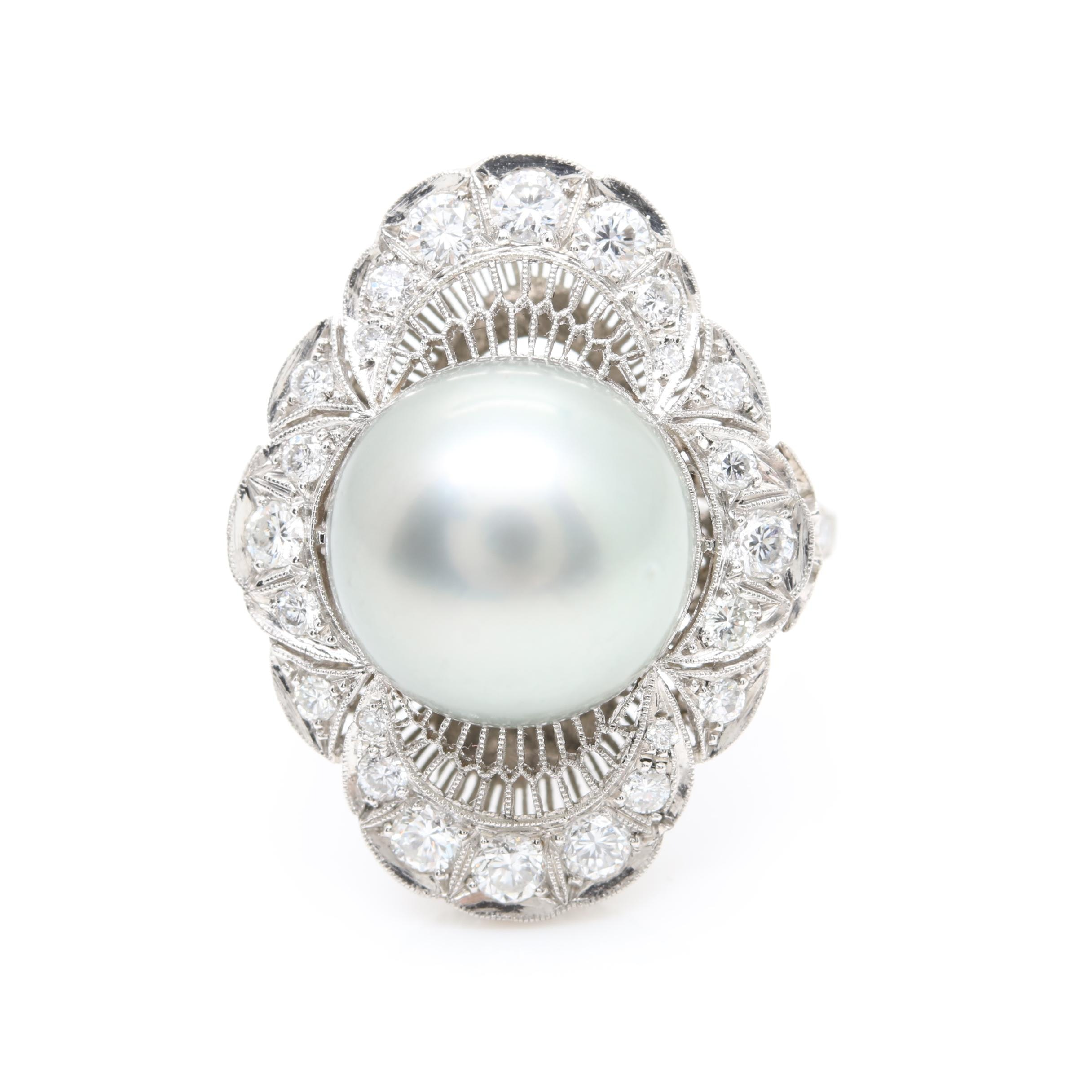 Platinum Cultured Pearl and Diamond Ring