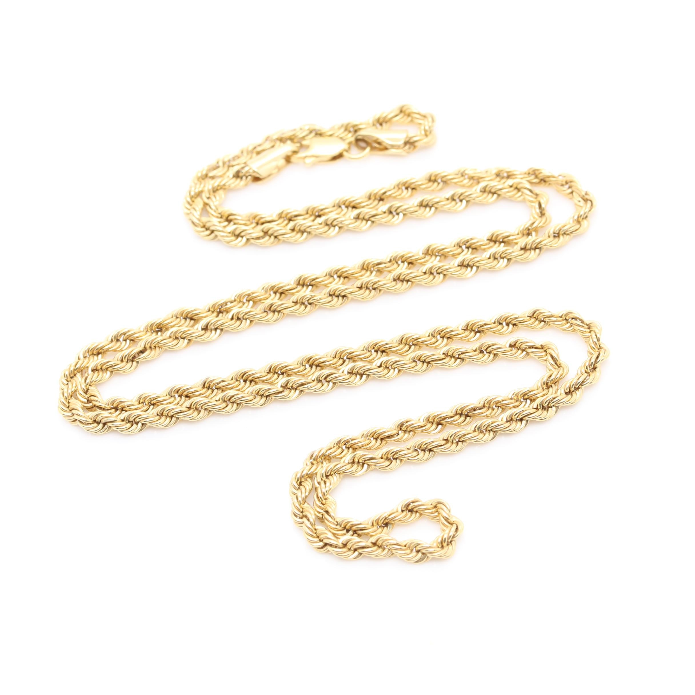 10K Yellow Gold Twisted Rope Chain Necklace
