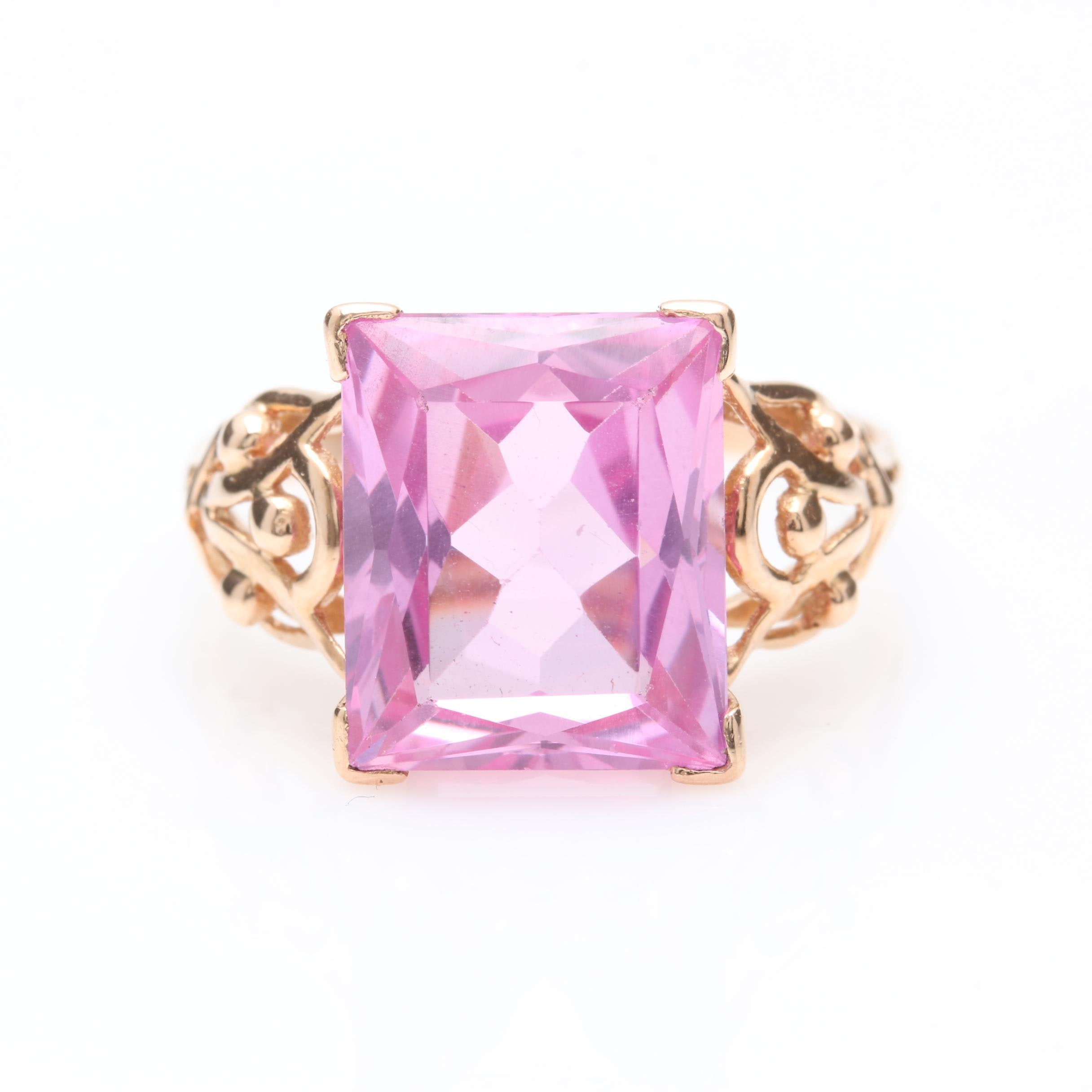 18K Yellow Gold Synthetic Pink Sapphire Ring