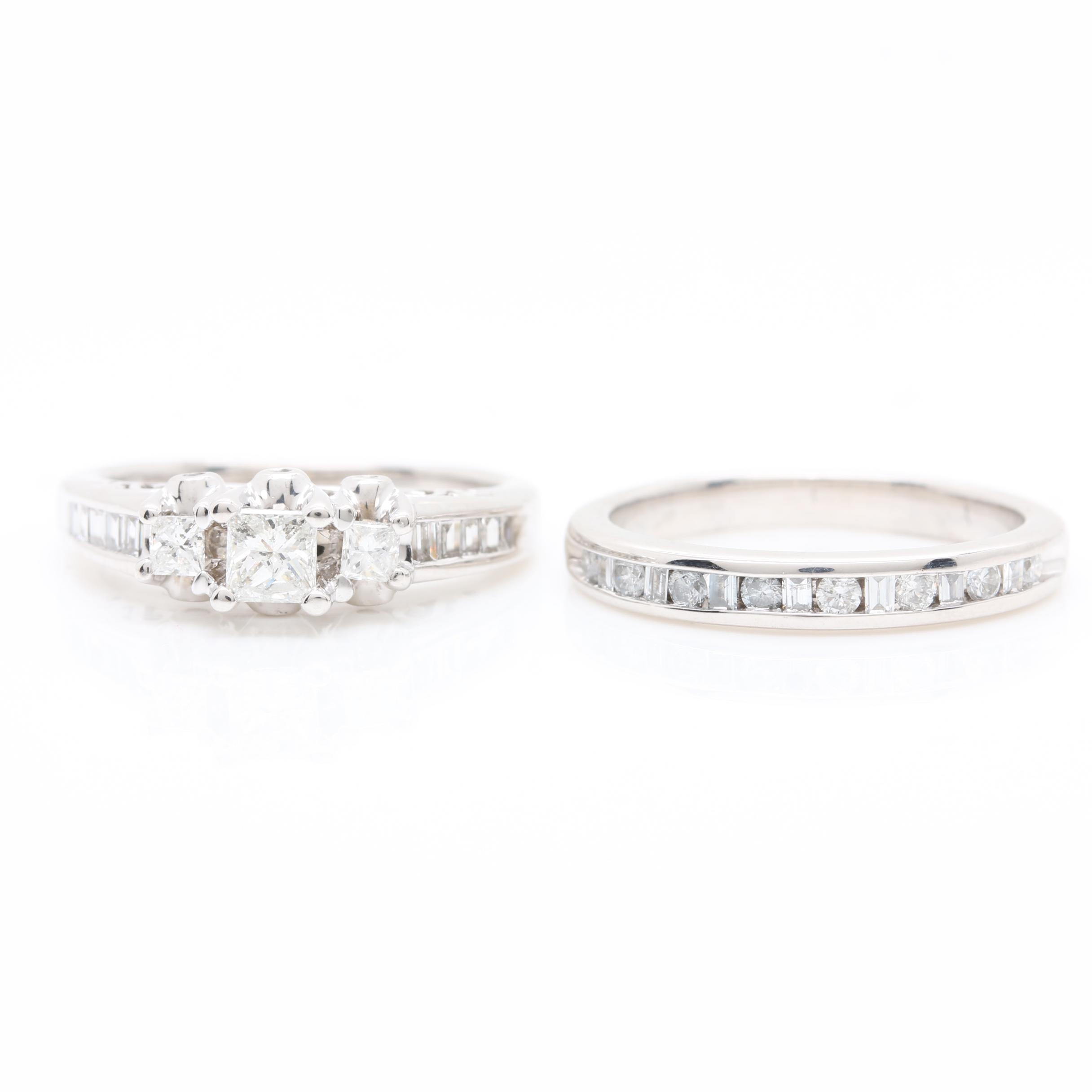 14K White Gold 0.95 CTW Diamond Wedding Ring Set