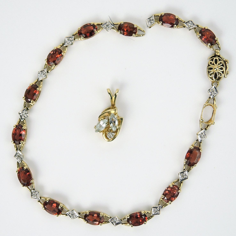 10K Gold Garnet Bracelet and Aquamarine Pendant with Diamonds
