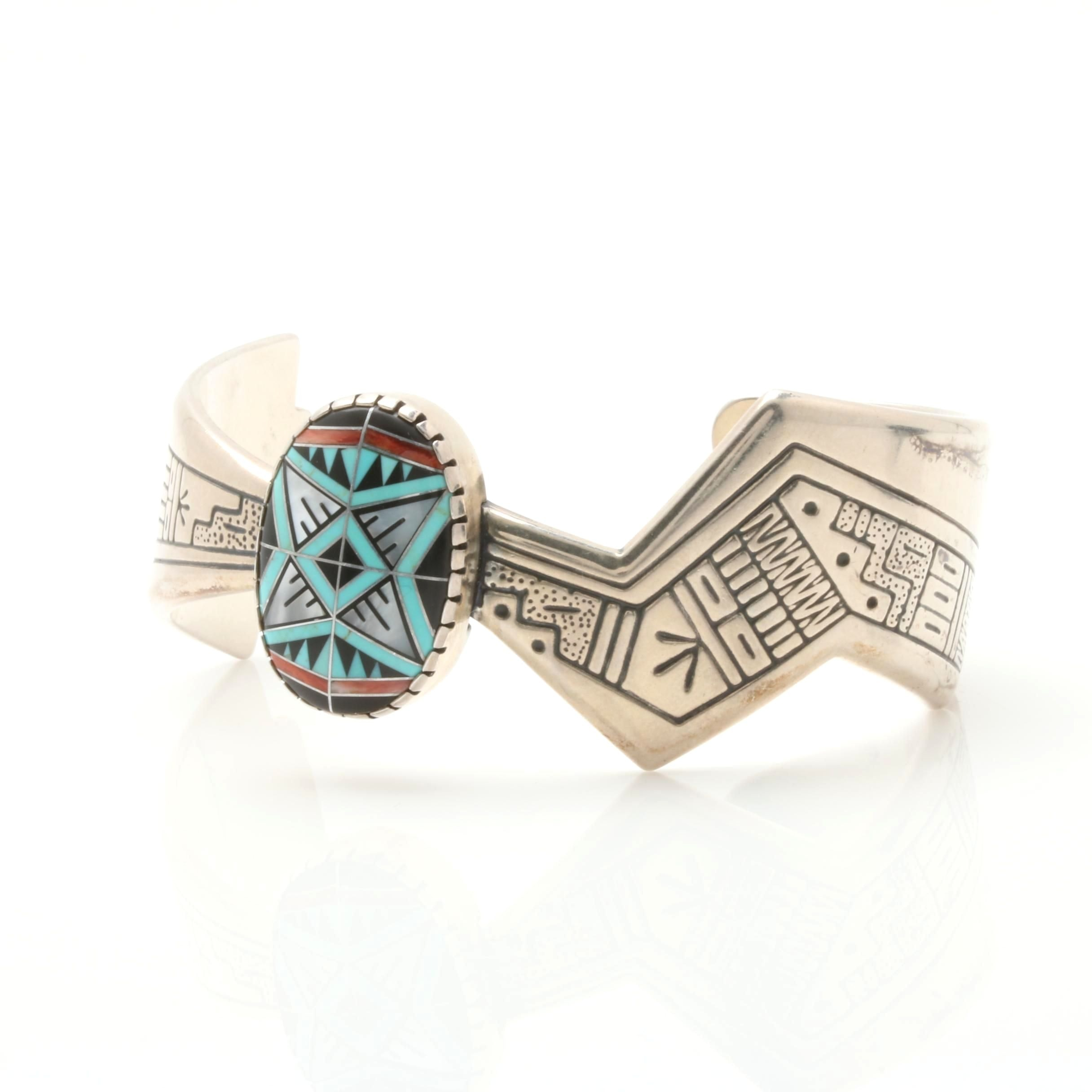 Carolyn Pollack by Roderick and Marilyn Tenorio Sterling Silver Inlaid Cuff