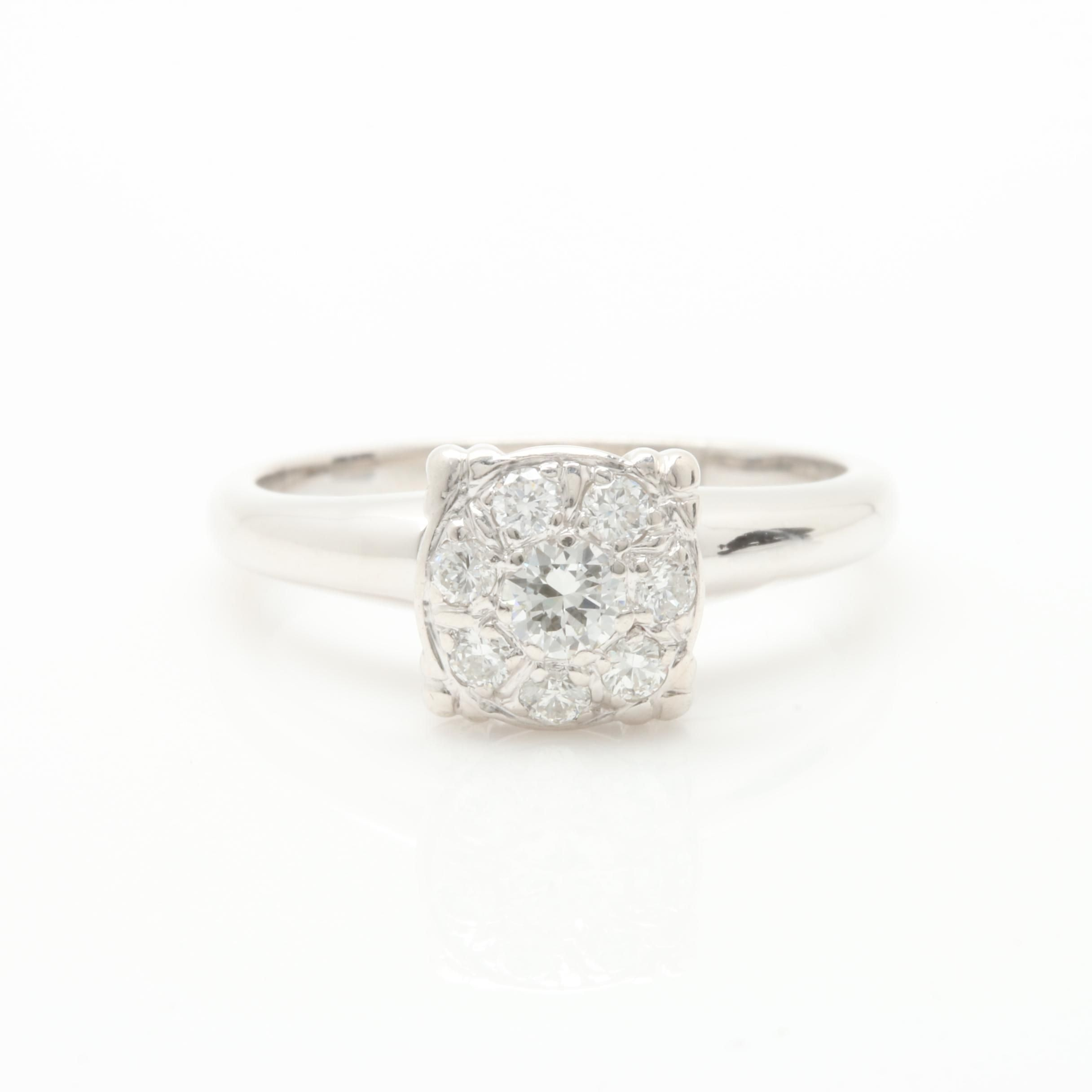 Vintage Platinum Palladium Alloy and 14K White Gold Diamond Ring