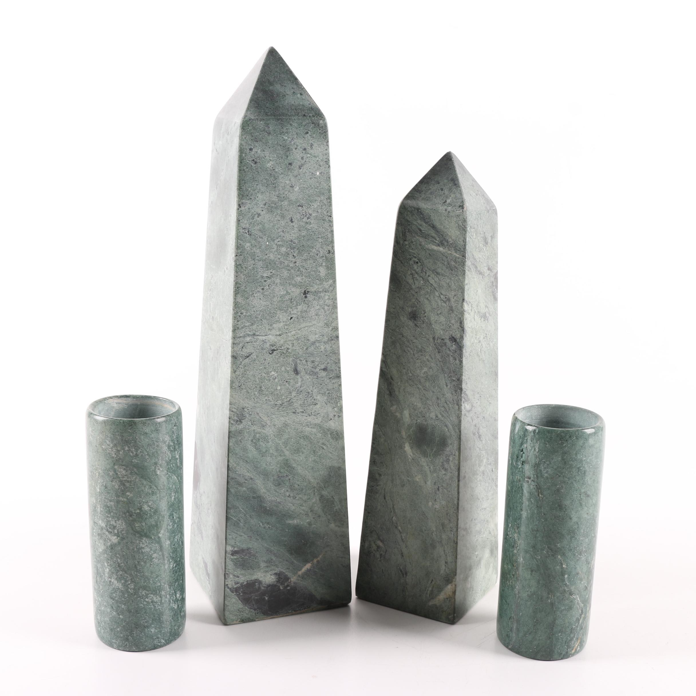 Marble Obelisks and Candle Holders