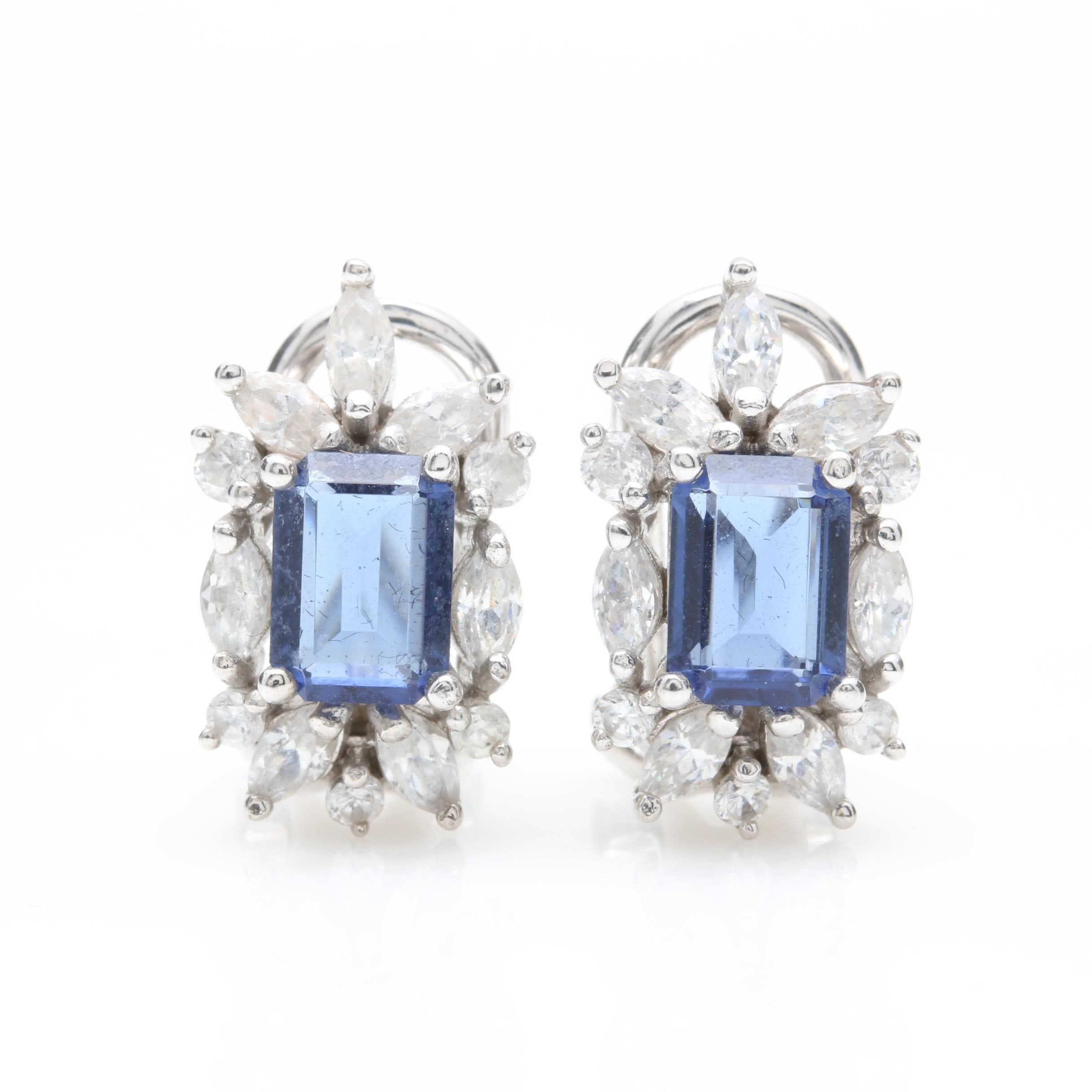 18K White Gold Blue Glass and Cubic Zirconia Earrings