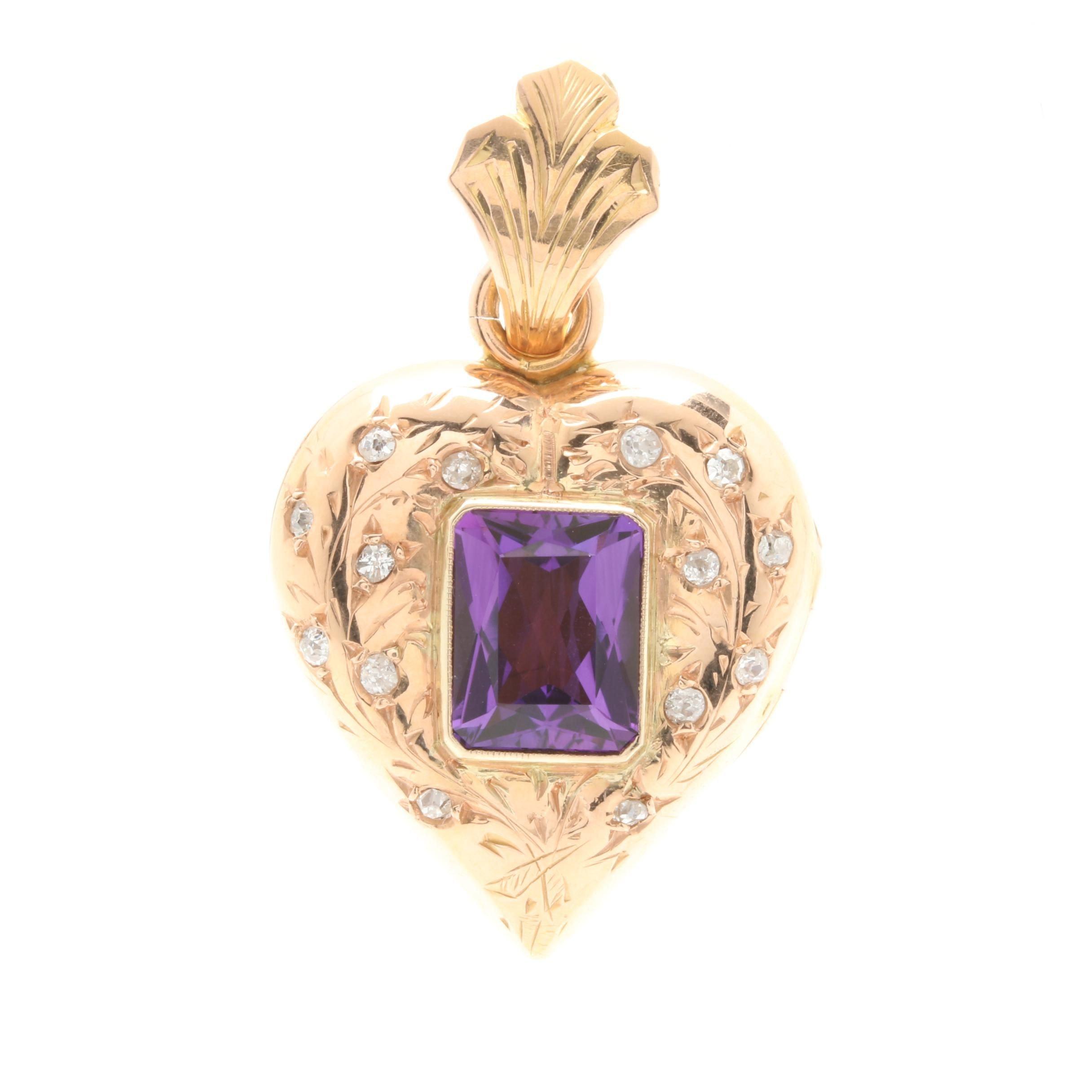 Victorian 18K Yellow Gold Amethyst and Diamond Heart Locket Pendant