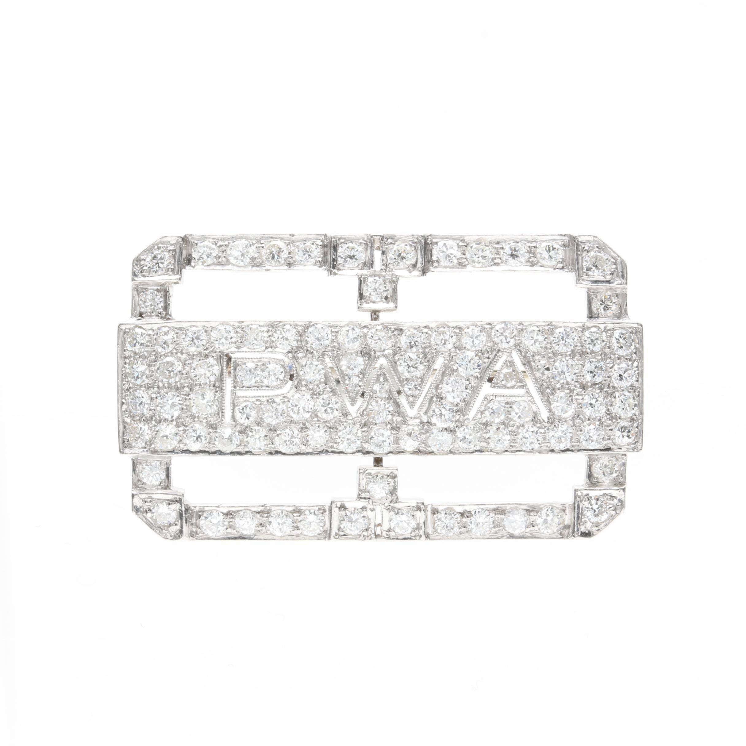 Platinum 1.75 CTW Diamond Monogram Brooch