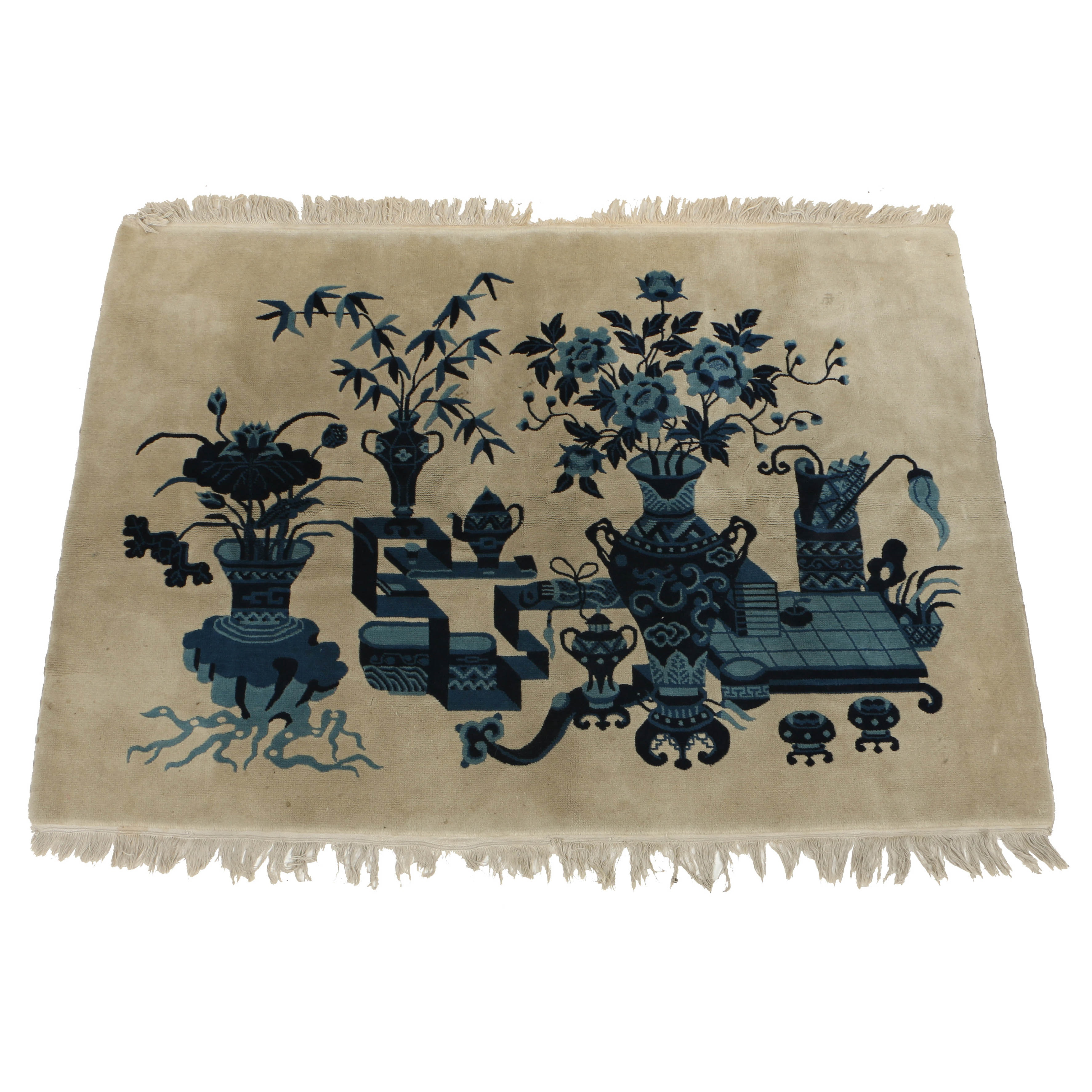 Circa 1920 Chinese Art Deco Hand-Knotted Wool Rug