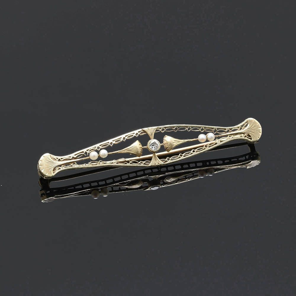 Art Nouveau 14K Yellow Gold Diamond and Seed Pearl Brooch
