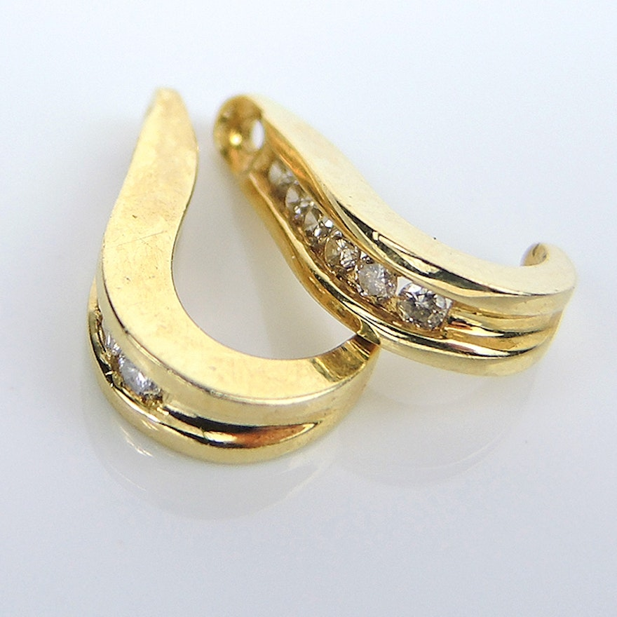 14k Yellow Gold Diamond J Hoop Earring Jackets