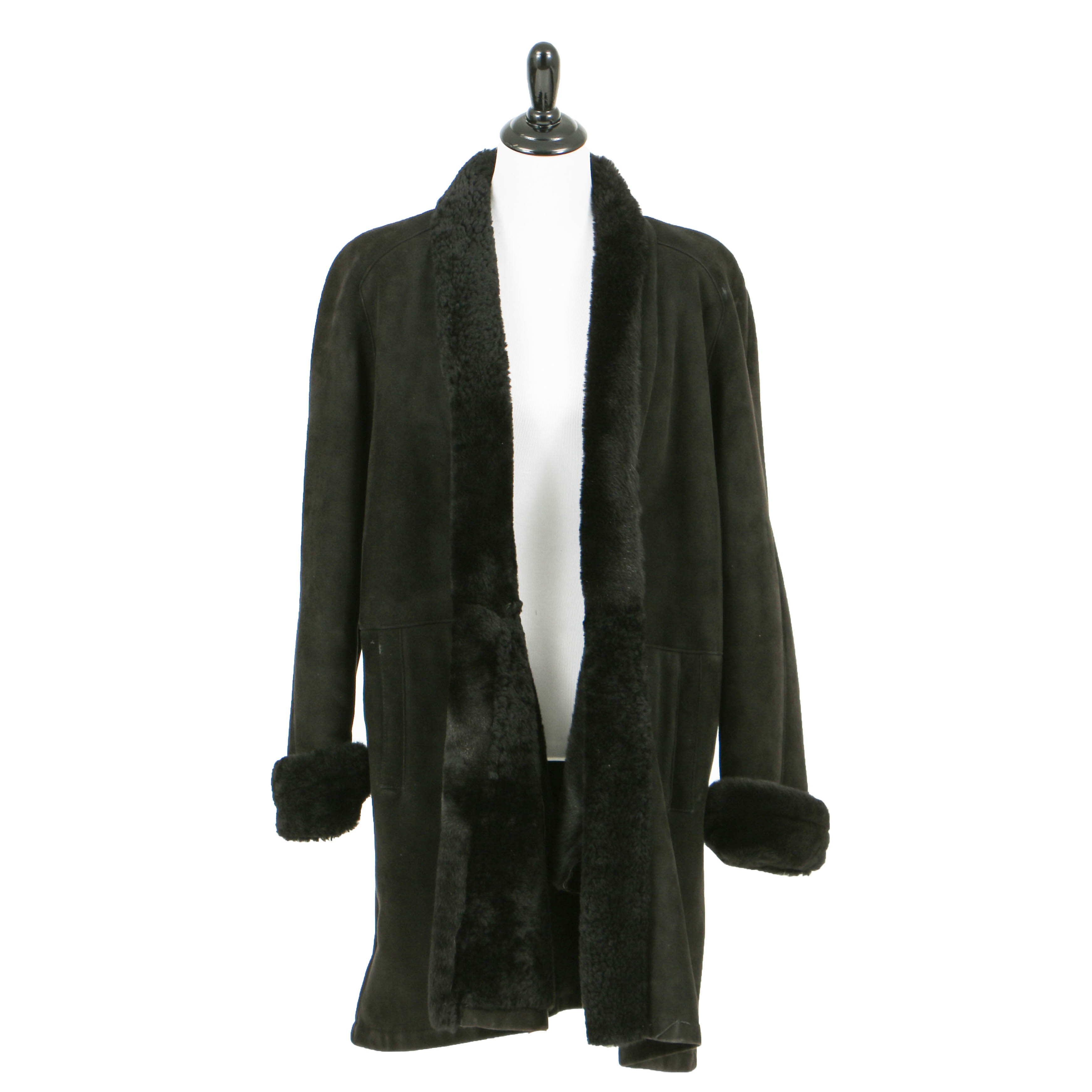 Black Suede Shearling Coat by Maxima