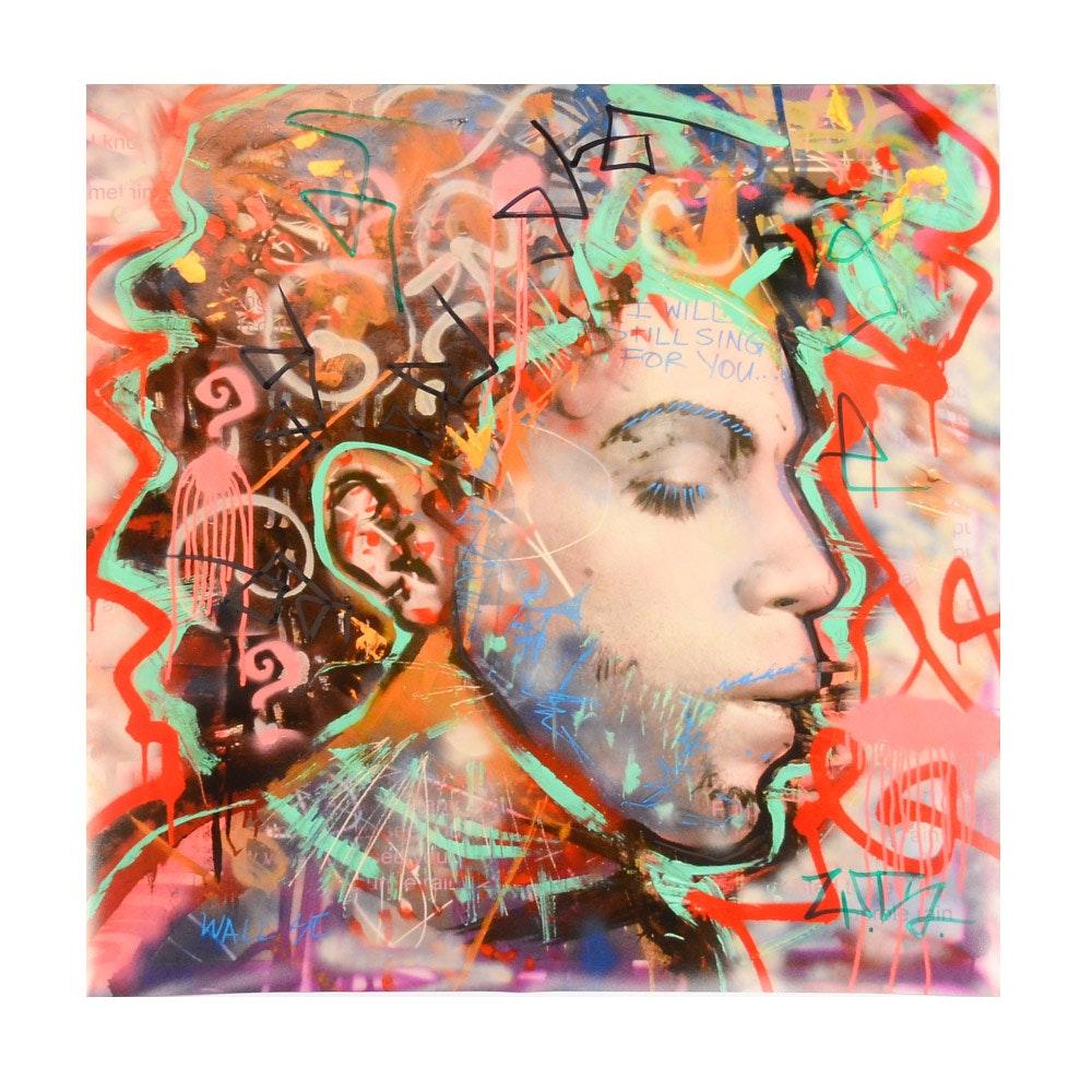 Wall Street Embellished Graffiti Style Giclee Print of Prince