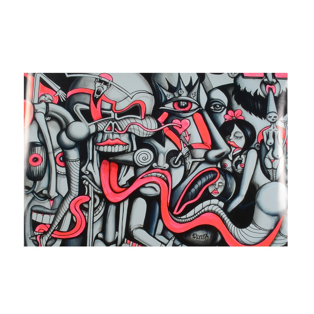 Giclee Print on Paper after Oliveira of Graffiti Style Figures