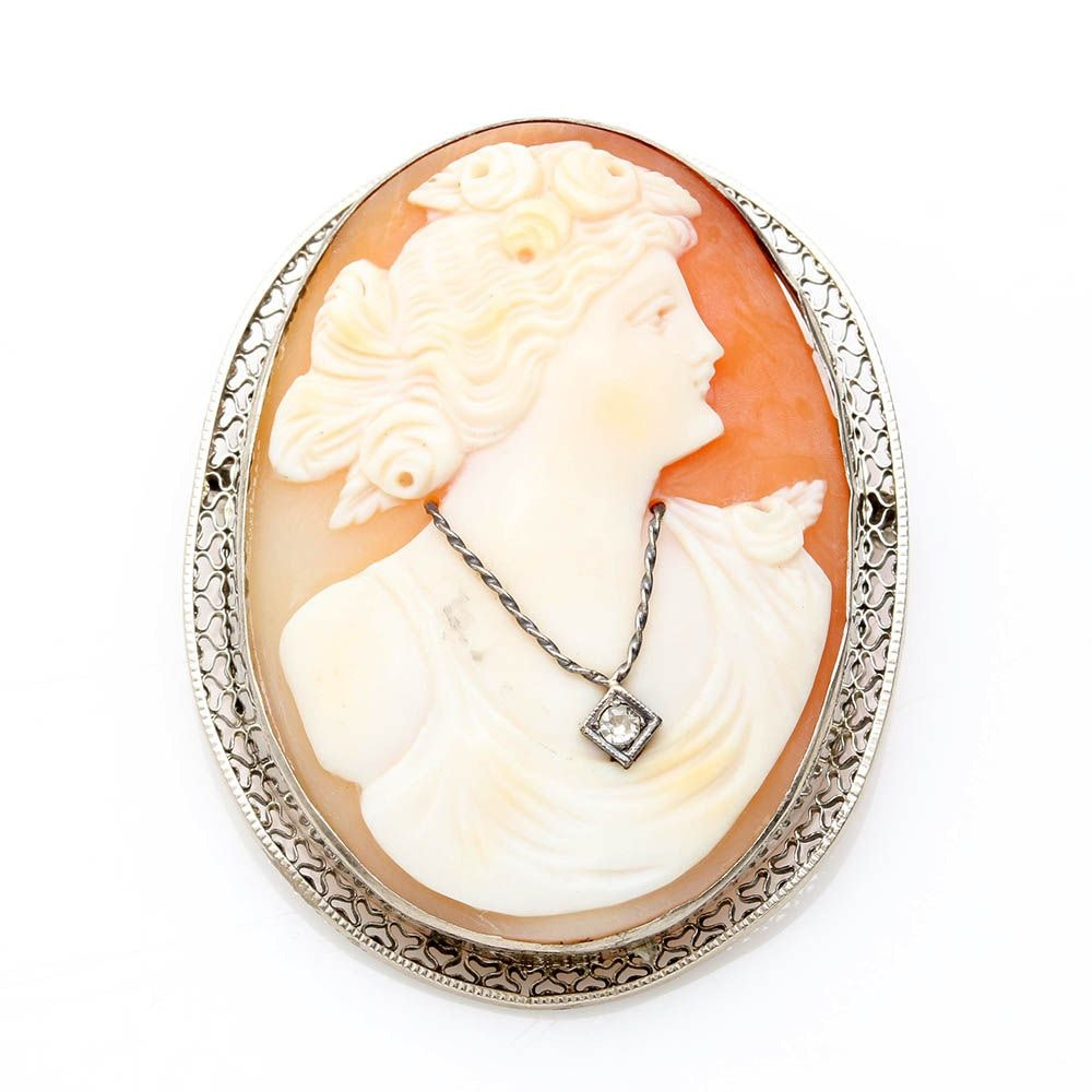 10K White Gold Helmet Shell Habillé Diamond Cameo Pendant Brooch