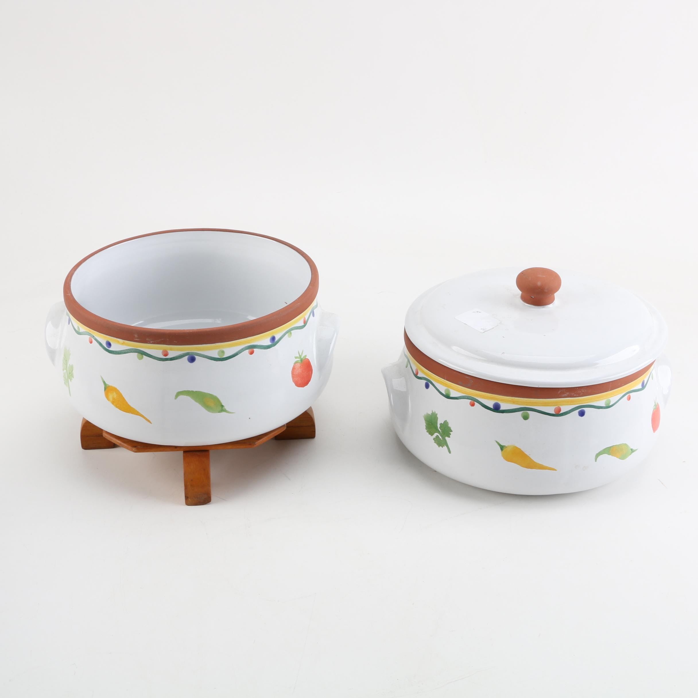 Hand-Painted Earthenware Casseroles