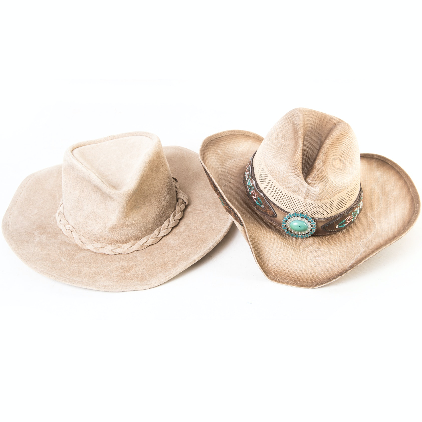 Women's Western Style Straw and Leather Hats Featuring Minnetonka