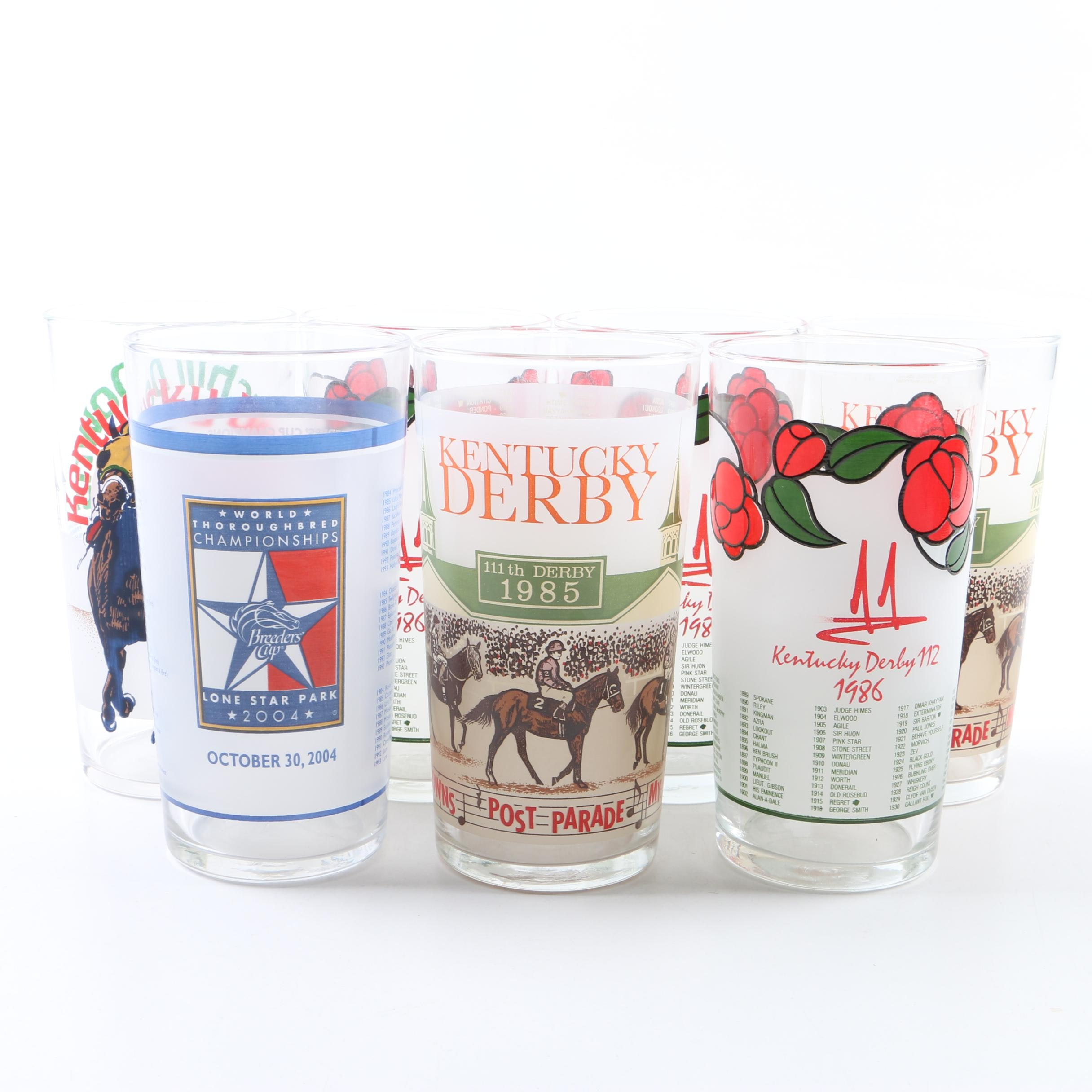 Set of Kentucky Derby Commemorative Horse Racing Glasses