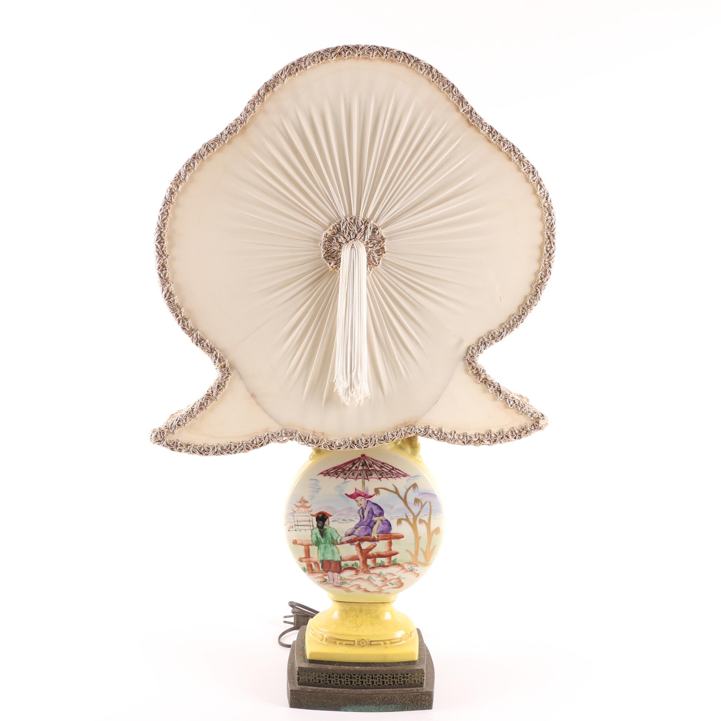 Asian Themed Ceramic Lamp with Fan Shade