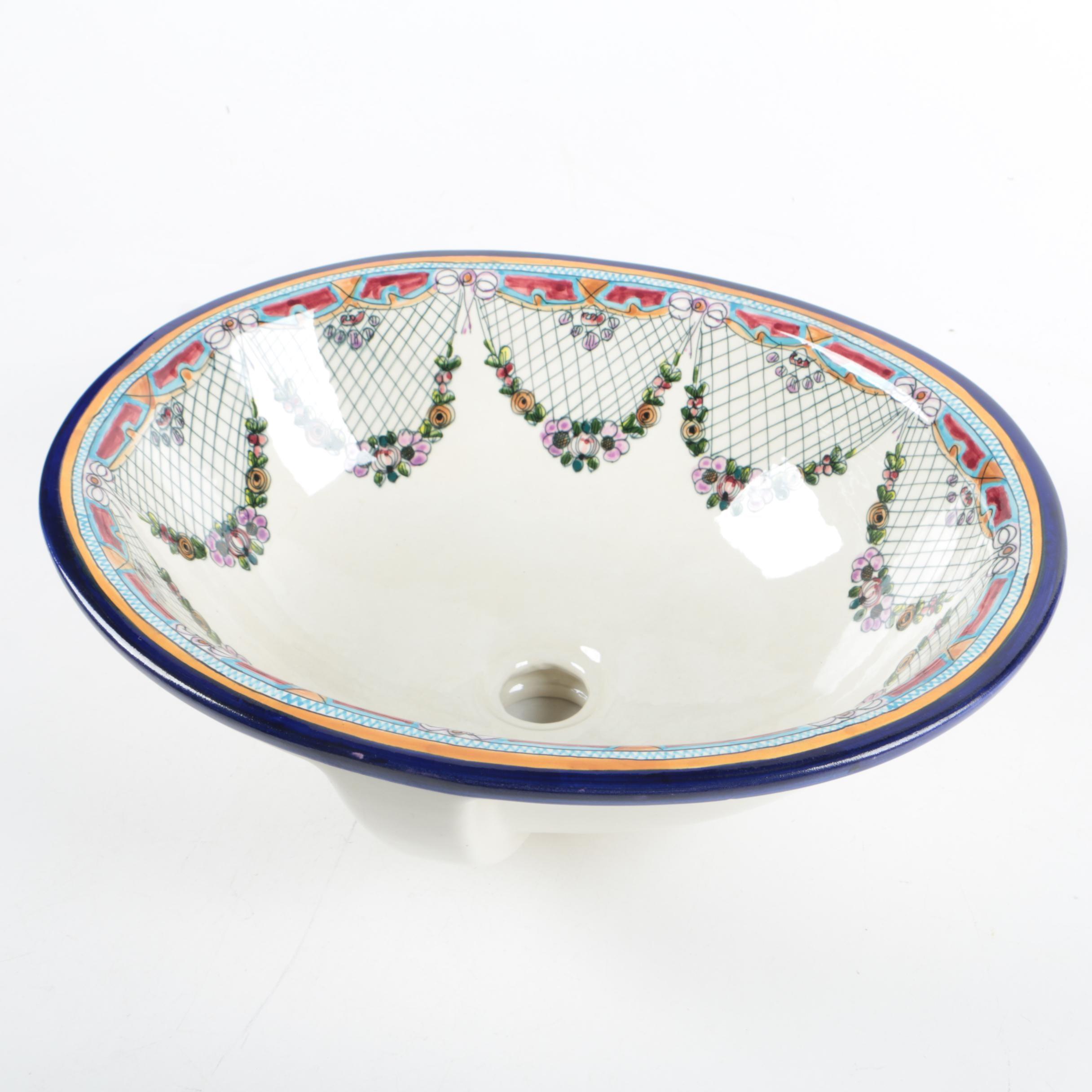 Oval Hand-Painted Porcelain Vessel Sink