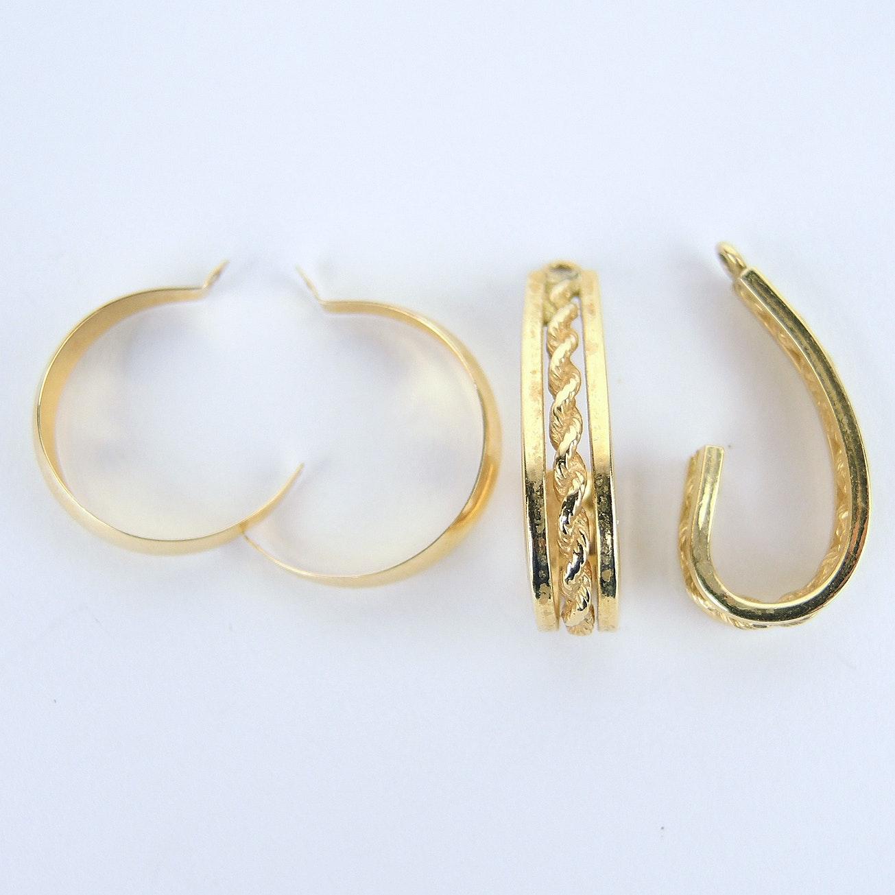 14K Yellow Gold J Hoop Earring Jackets